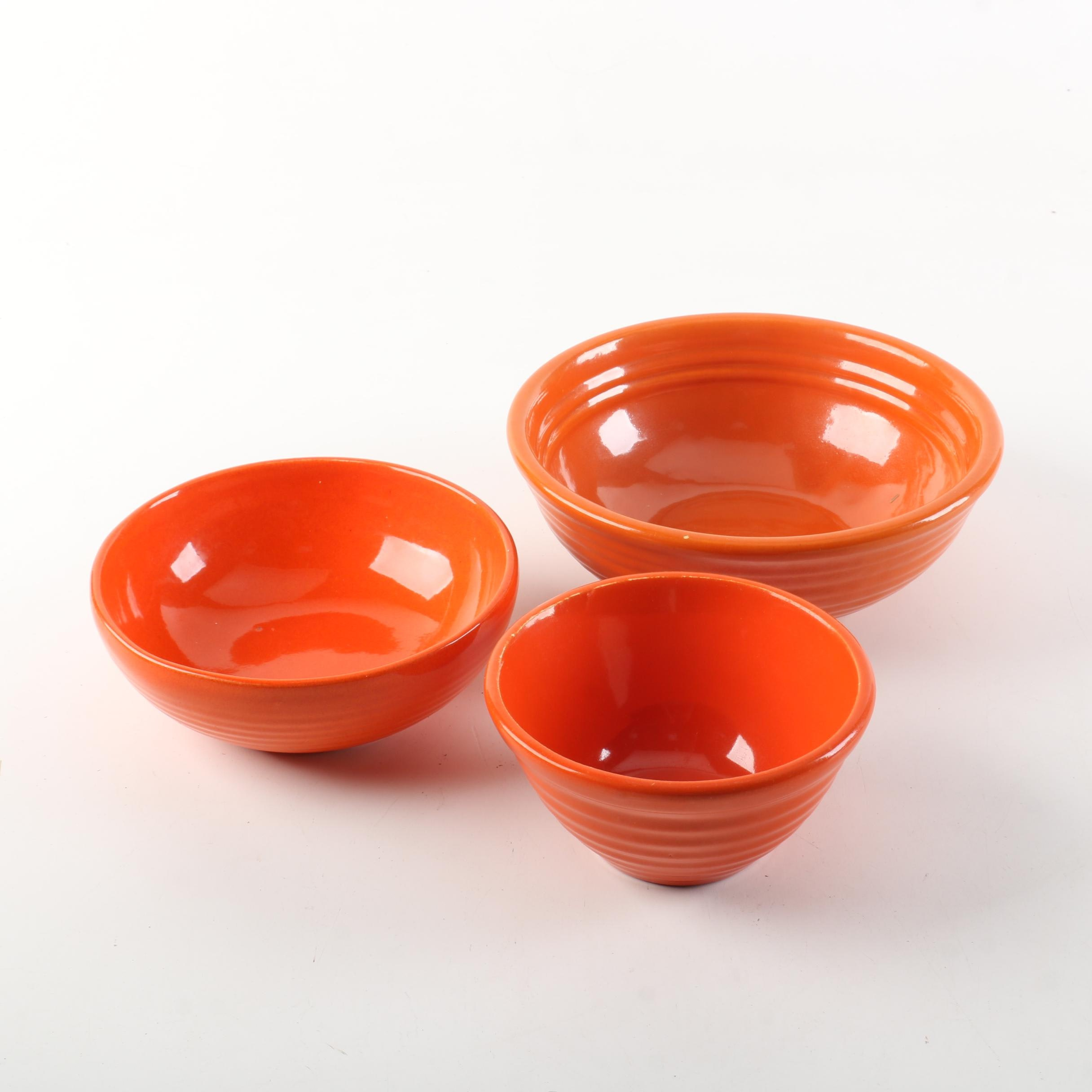 Orange Pottery Bowls Including Bauer