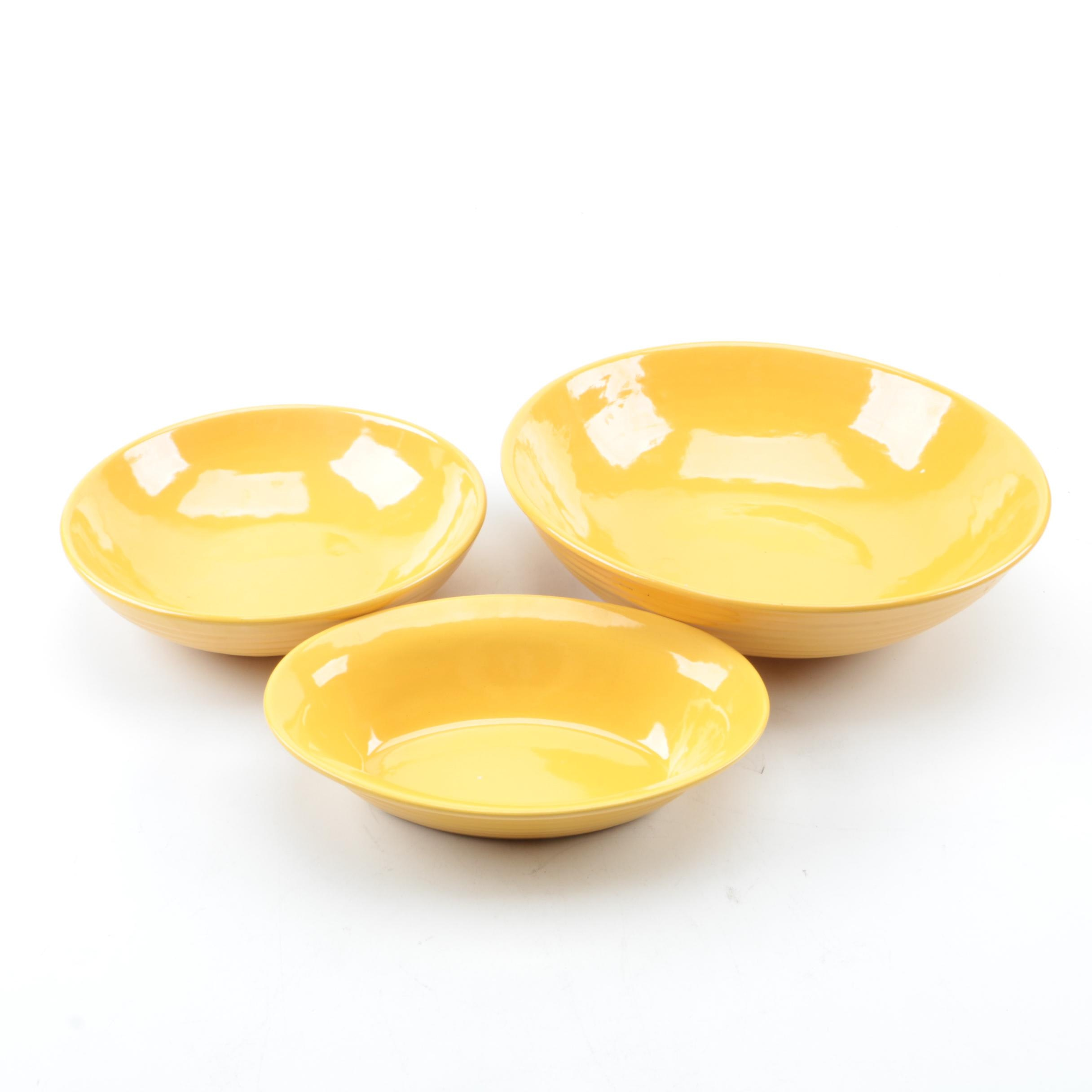 Vintage Bauer Pottery Bright Yellow Bowls