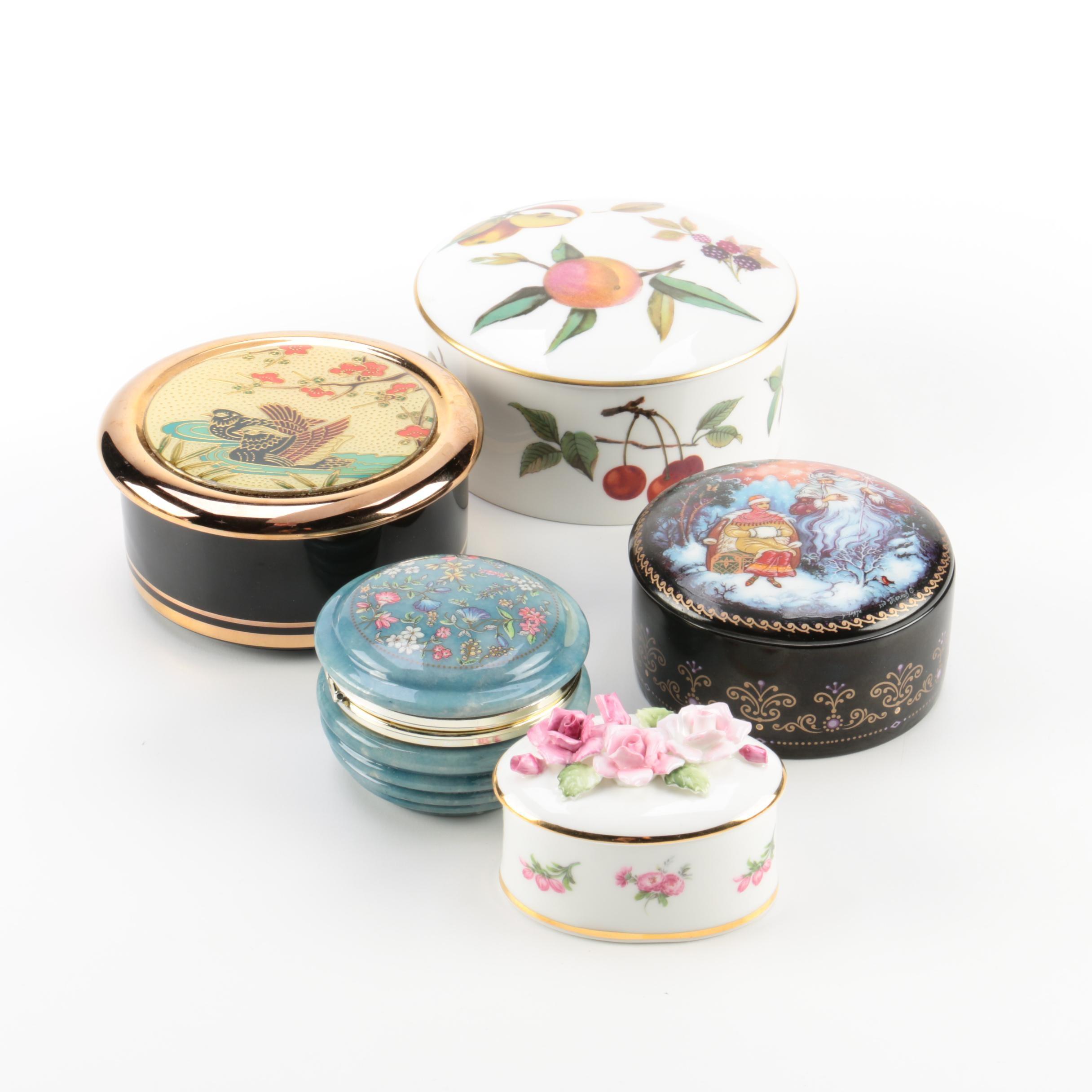 """Porcelain and Dyed Alabaster Trinket Boxes, Including Royal Worcester """"Arden"""""""