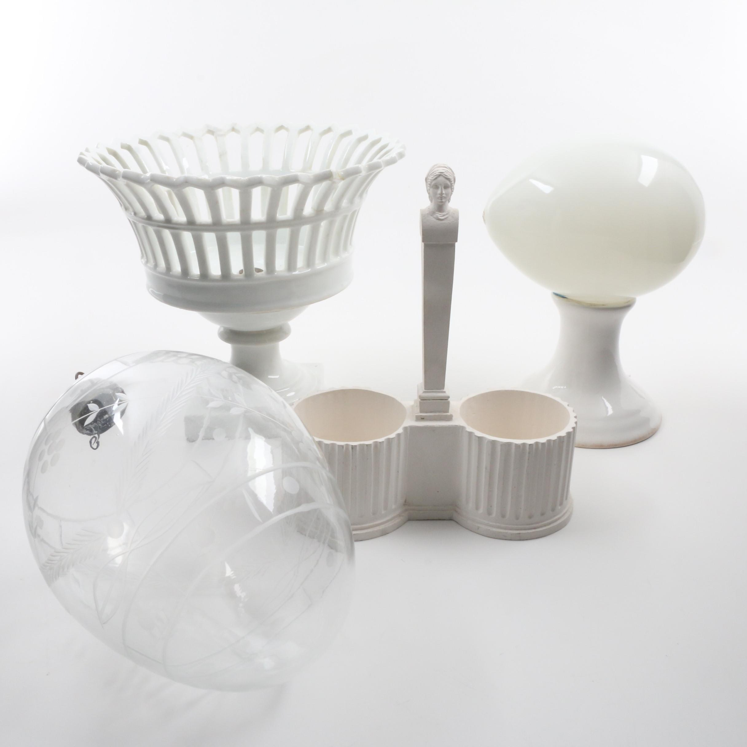 Becks Cruet Stand, Porcelain Compote and Glass Egg
