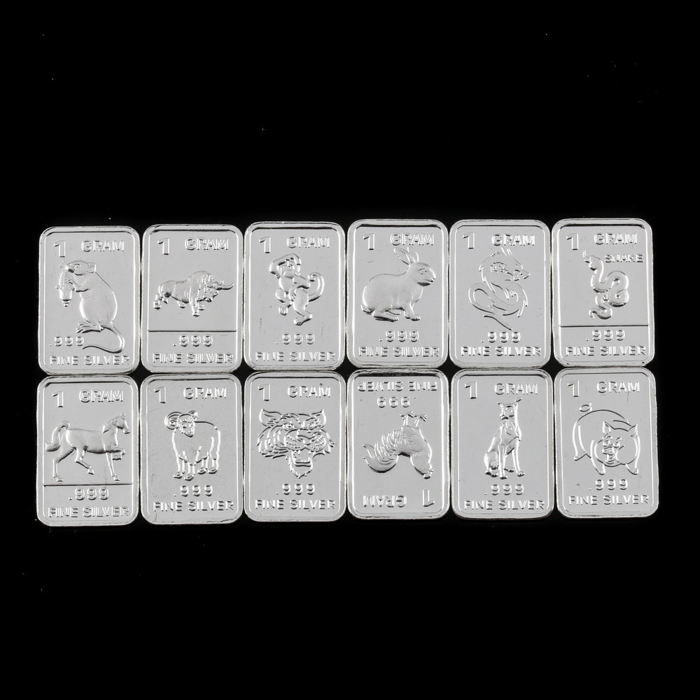 Twelve Chinese Zodiac Themed 1 Gram Silver Ingots