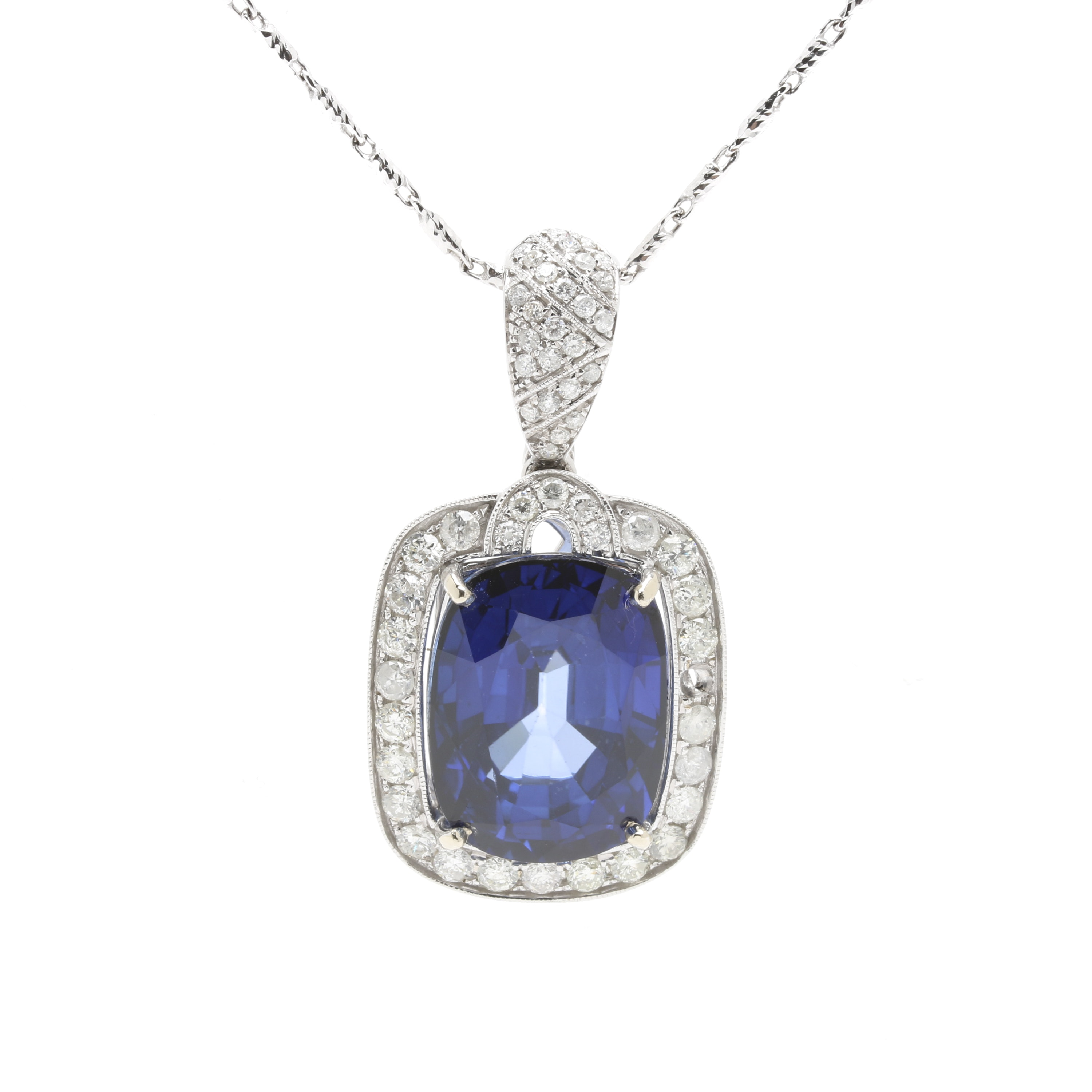 14K White Gold Synthetic Sapphire and 2.00 CTW Diamond Necklace With GIA Report