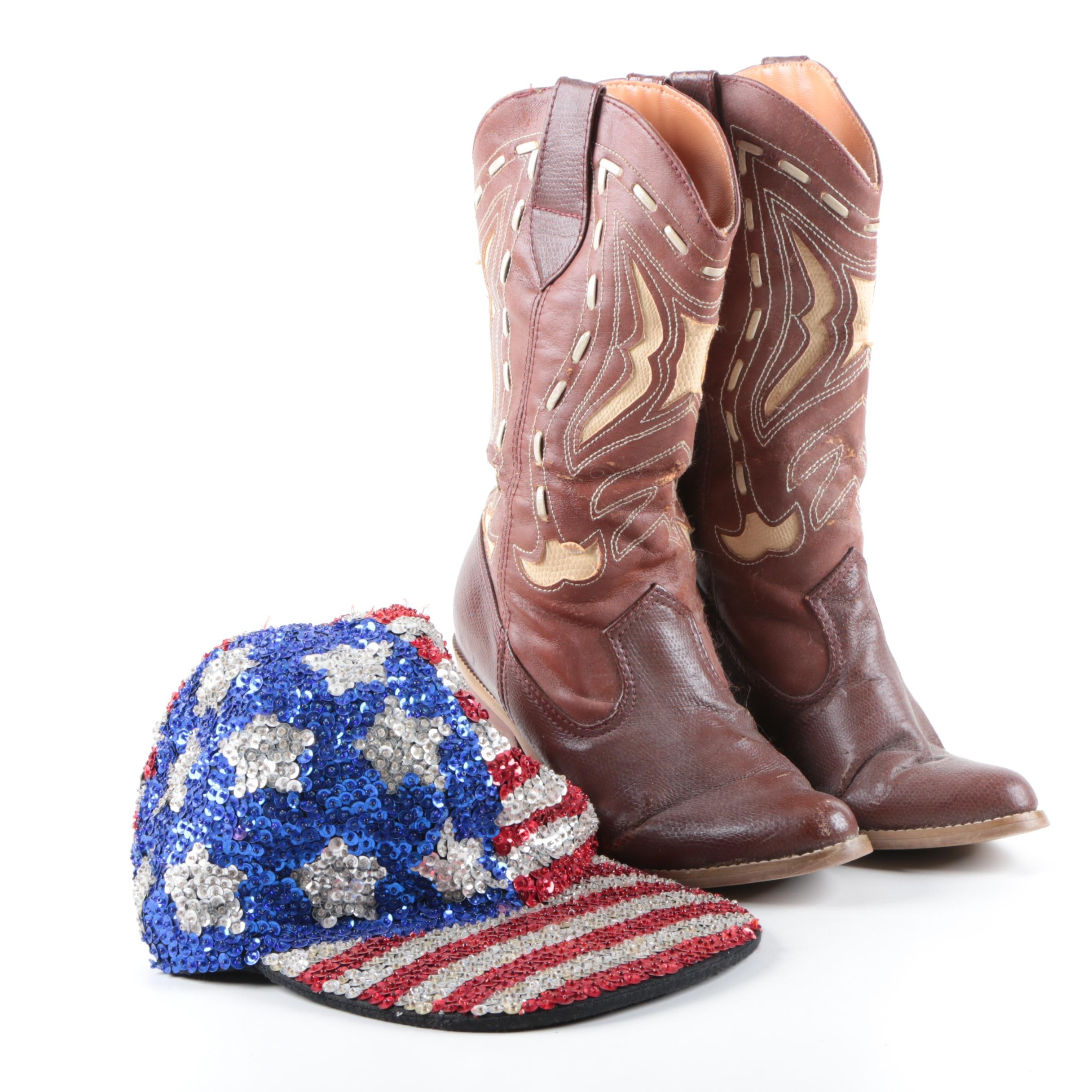 Women's Faux Leather Cowgirl Boots with Sequined American Flag Cap