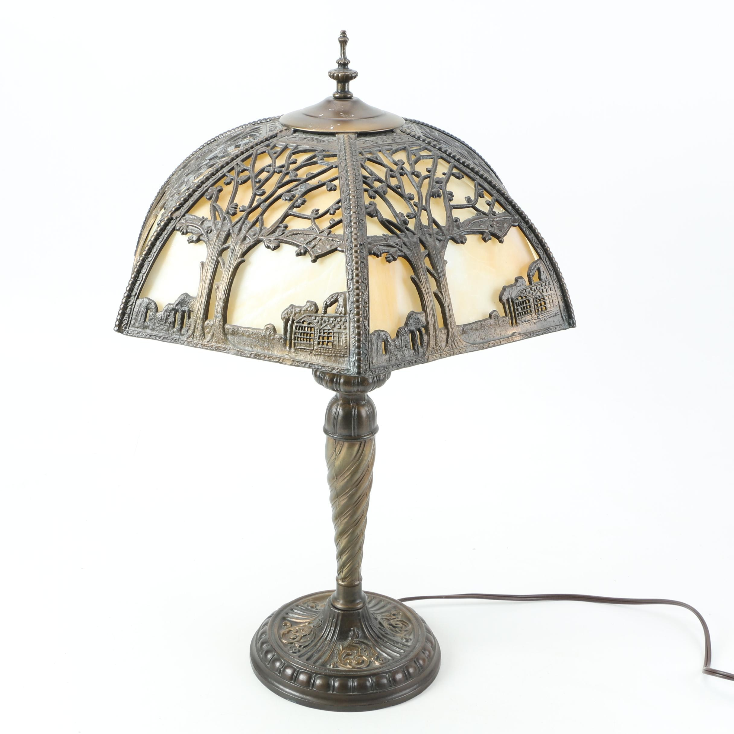 Vintage Slag Glass and Cast Metal Table Lamp