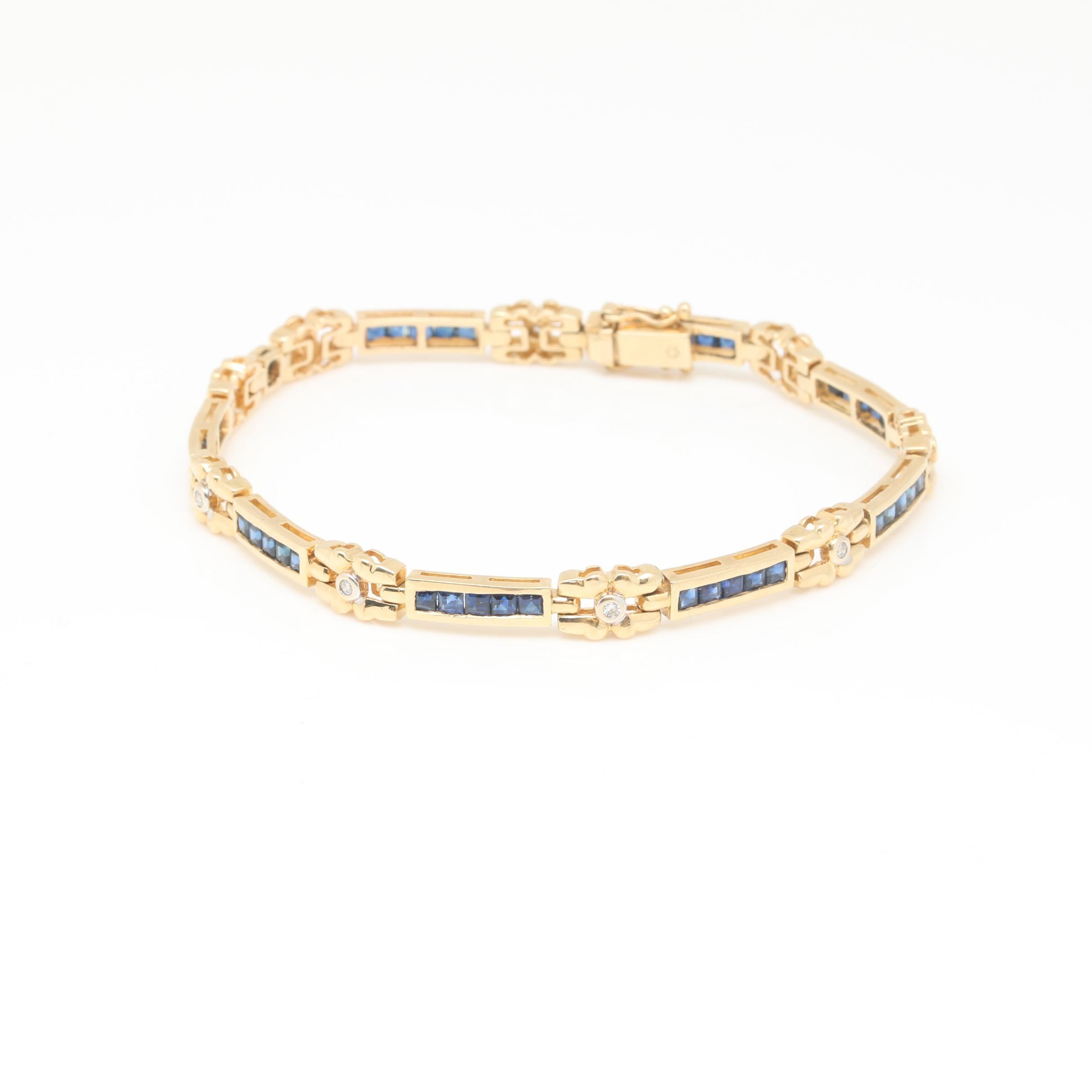 14K Yellow Gold Blue Sapphire and Diamond Bracelet
