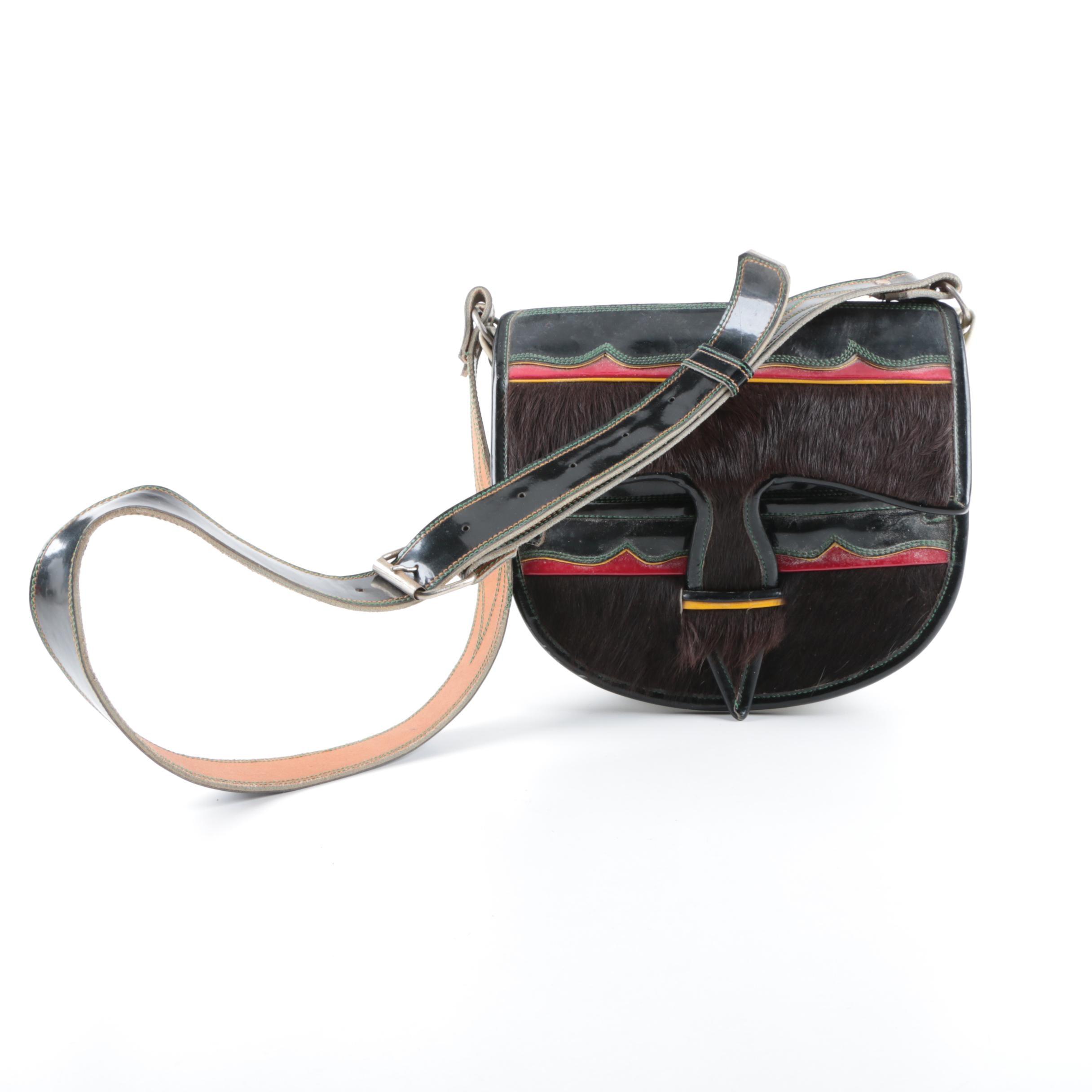Carrieles Goat Hair and Leather Crossbody Handbag