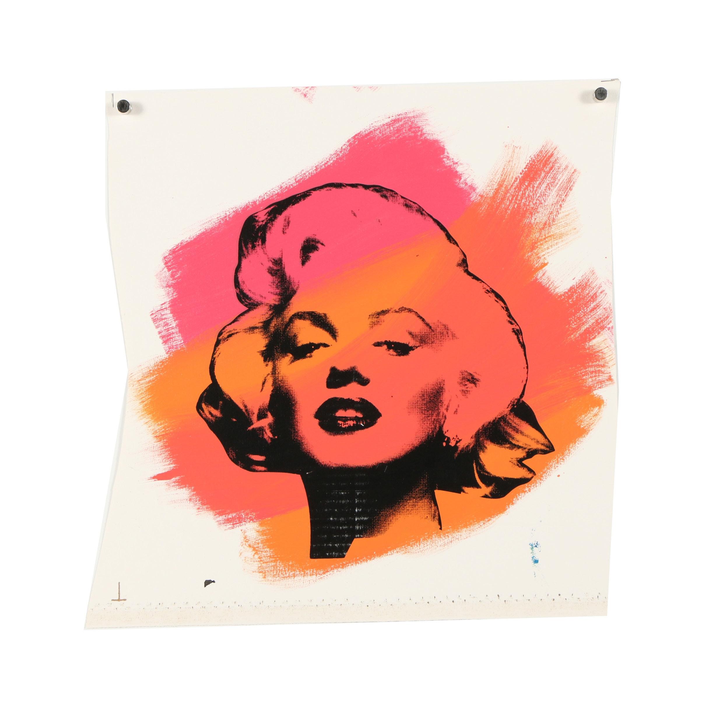 "Steve Kaufman Embellished Serigraph ""Marilyn"""