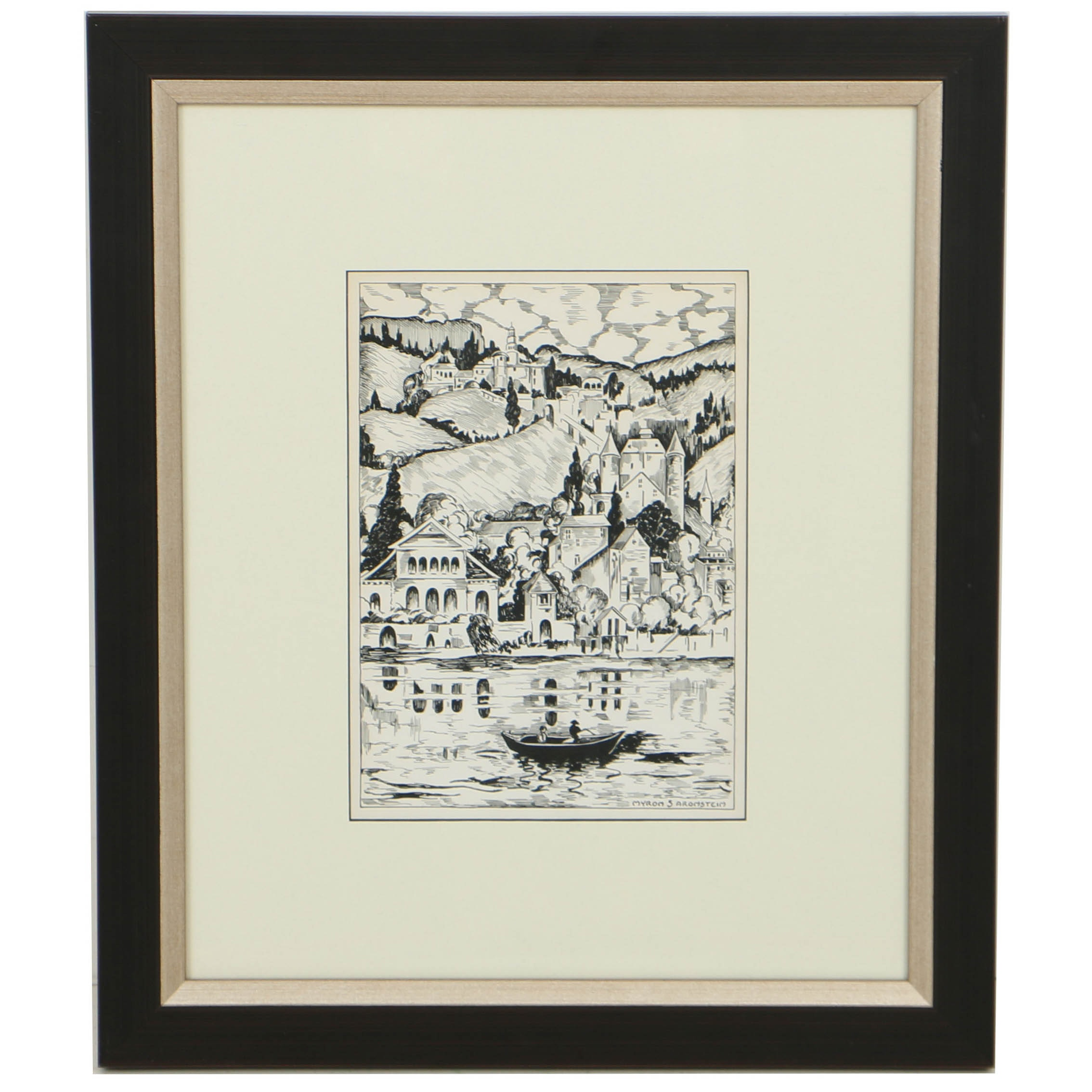 Myron Aronstein Ink Drawing on Paper of Coastal Townscape