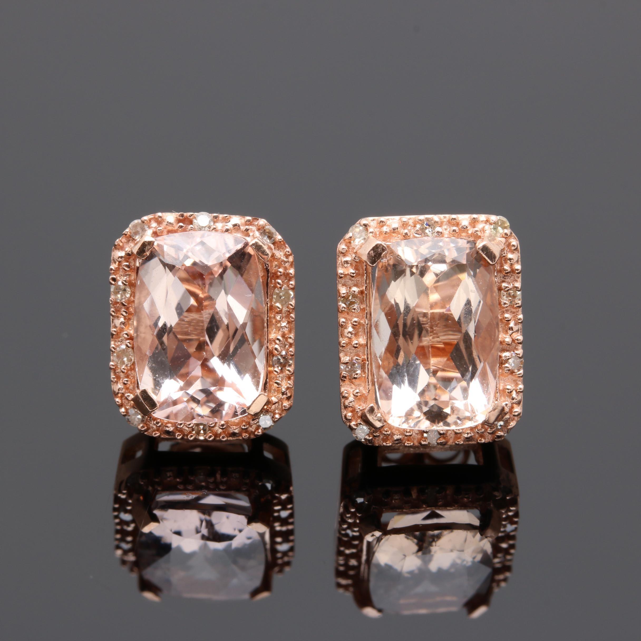 10K Rose Gold Morganite and Diamond Earrings