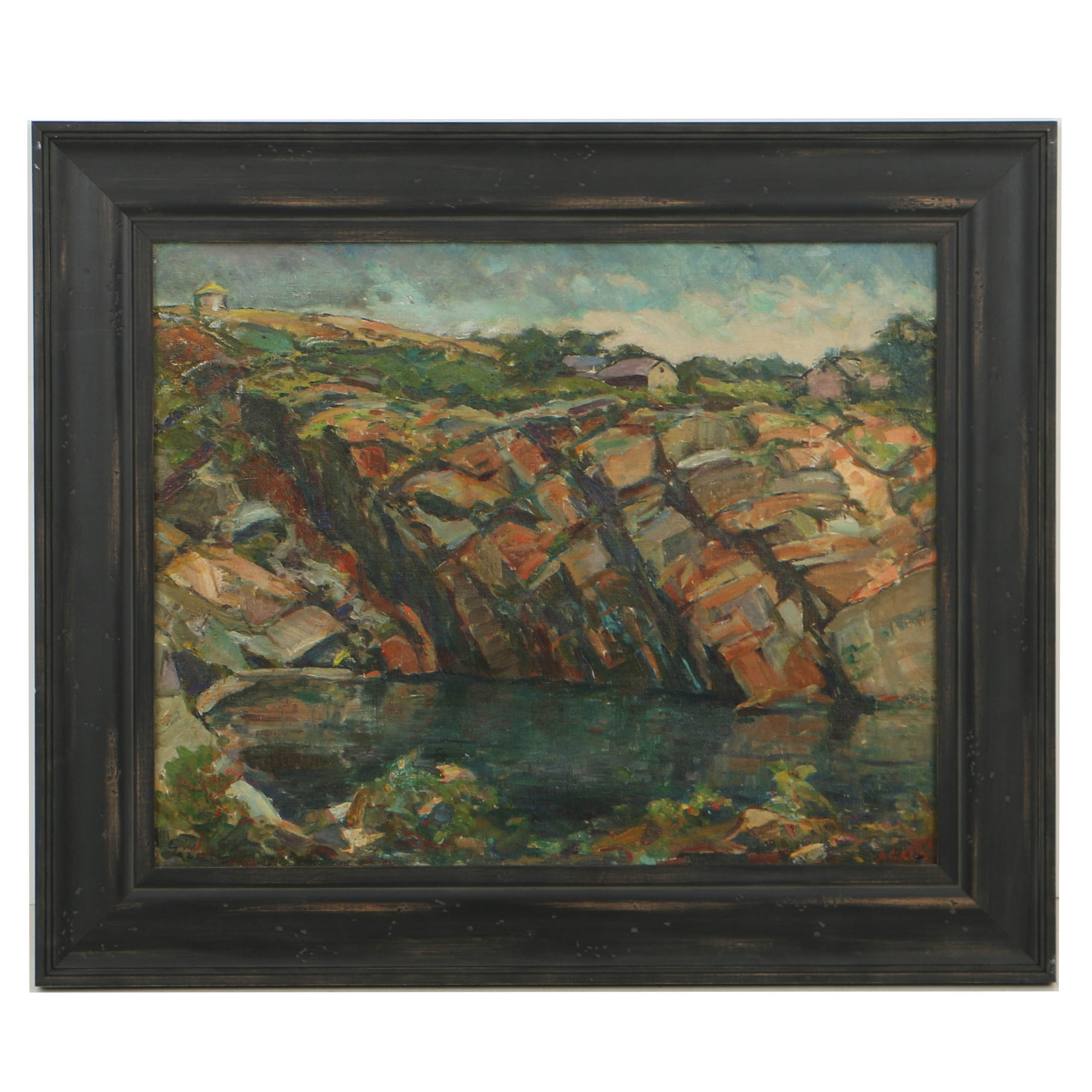 Agale Post-Impressionistic Oil Painting on Canvas of Coastal Landscape