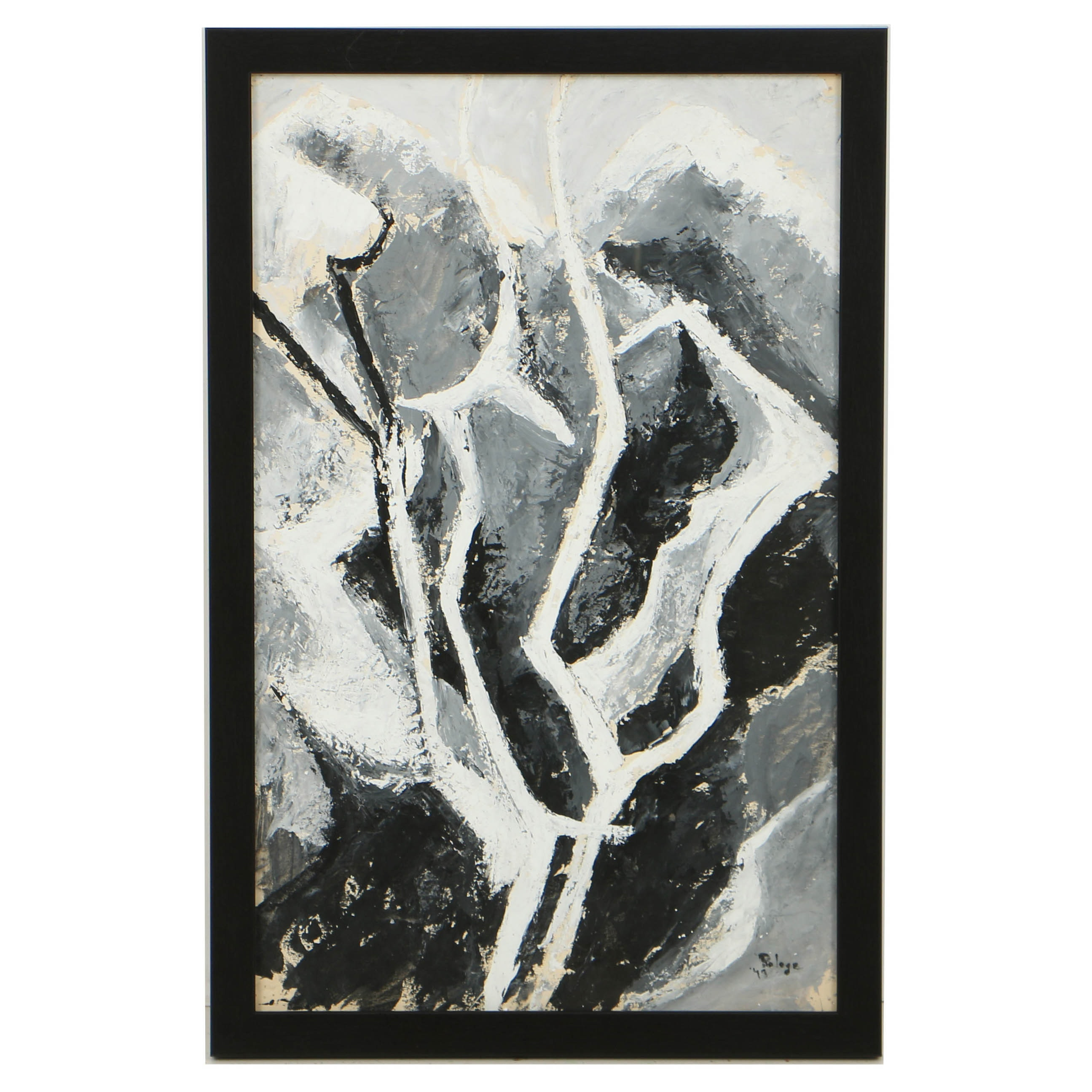 Grace Pologe Grayscale Gouache Painting on Paper of Abstracted Tree