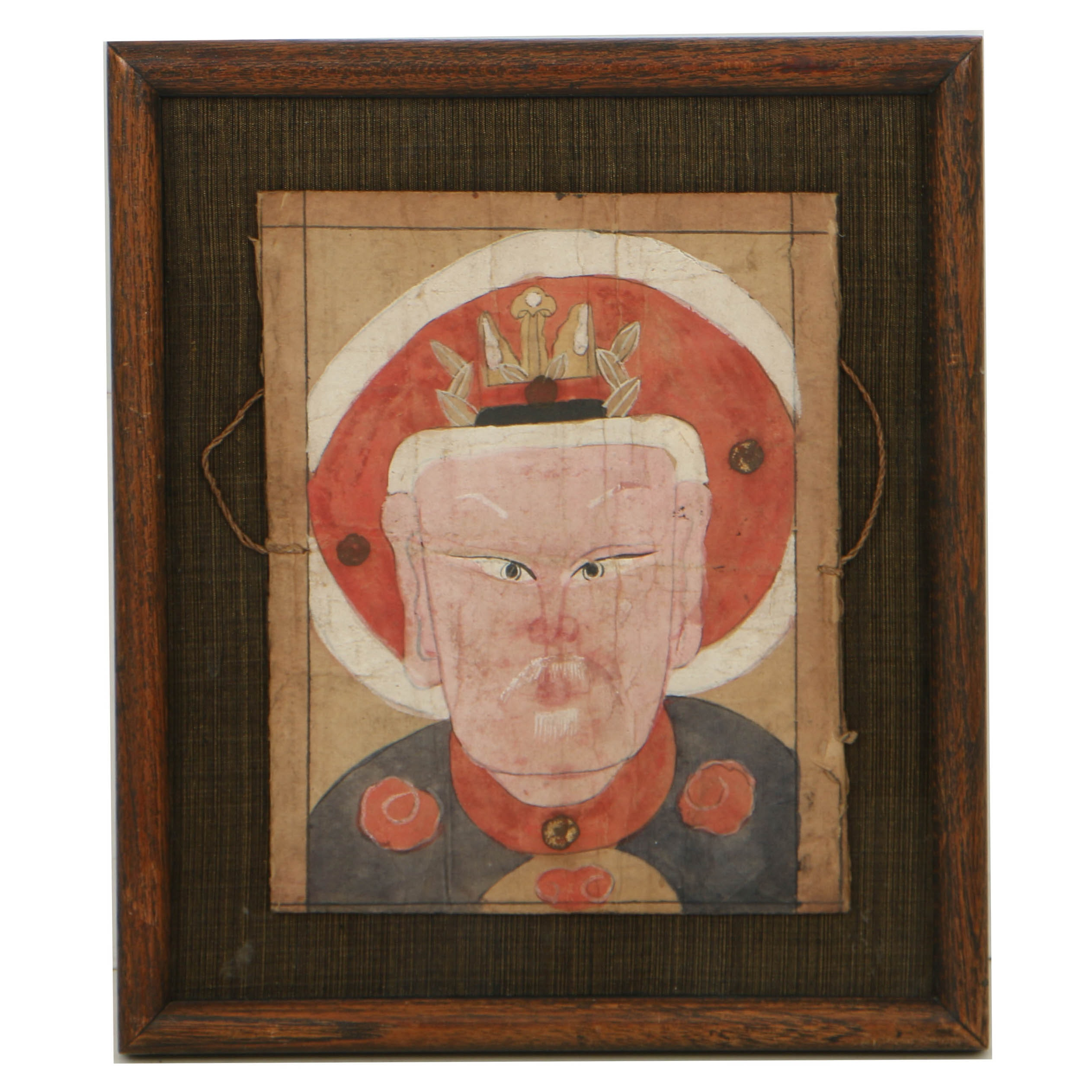 Framed Tibetan Hand Painted Portrait Mask of Man with Crown