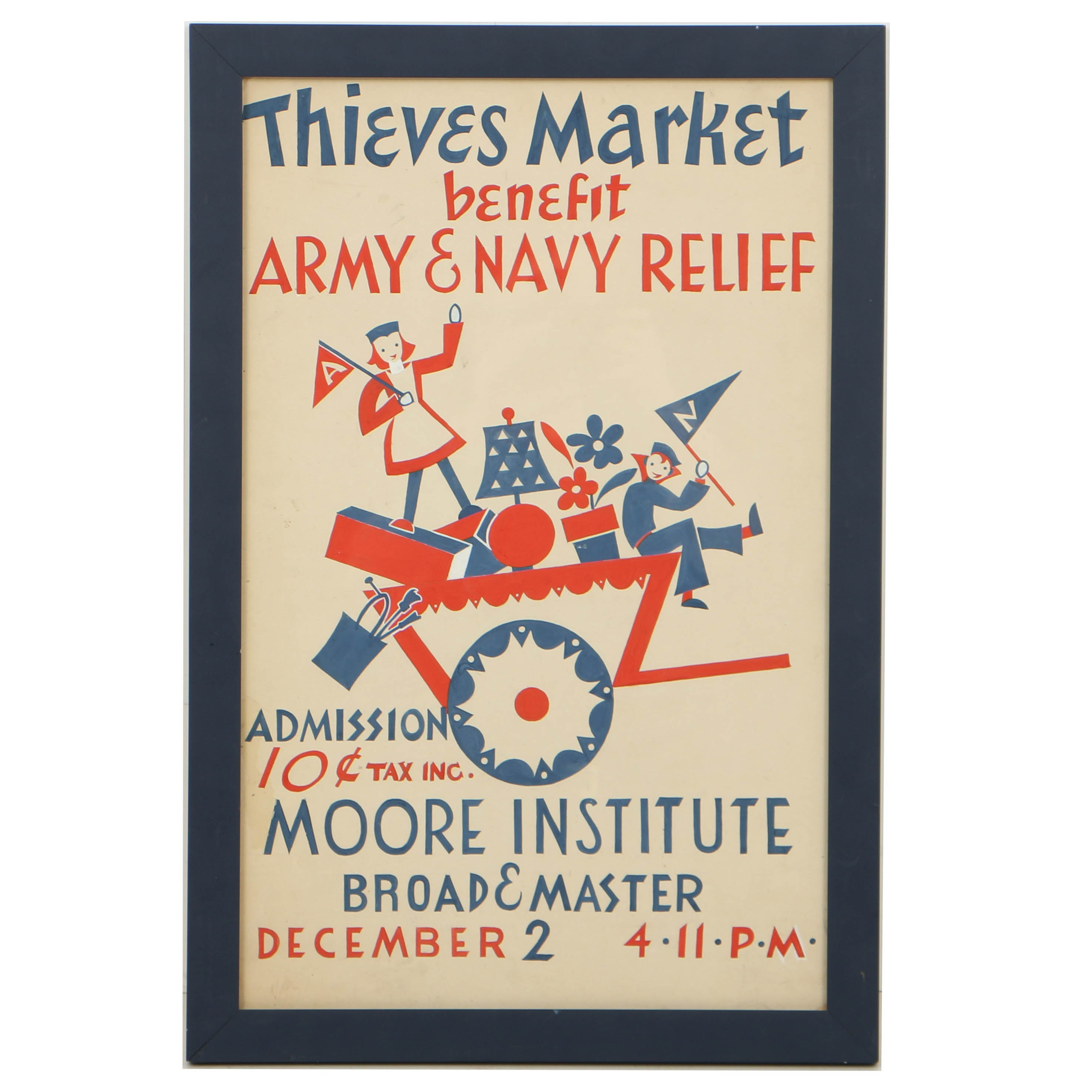 Vintage Hand Painted Gouache on Paper Thieves Market Benefit Poster