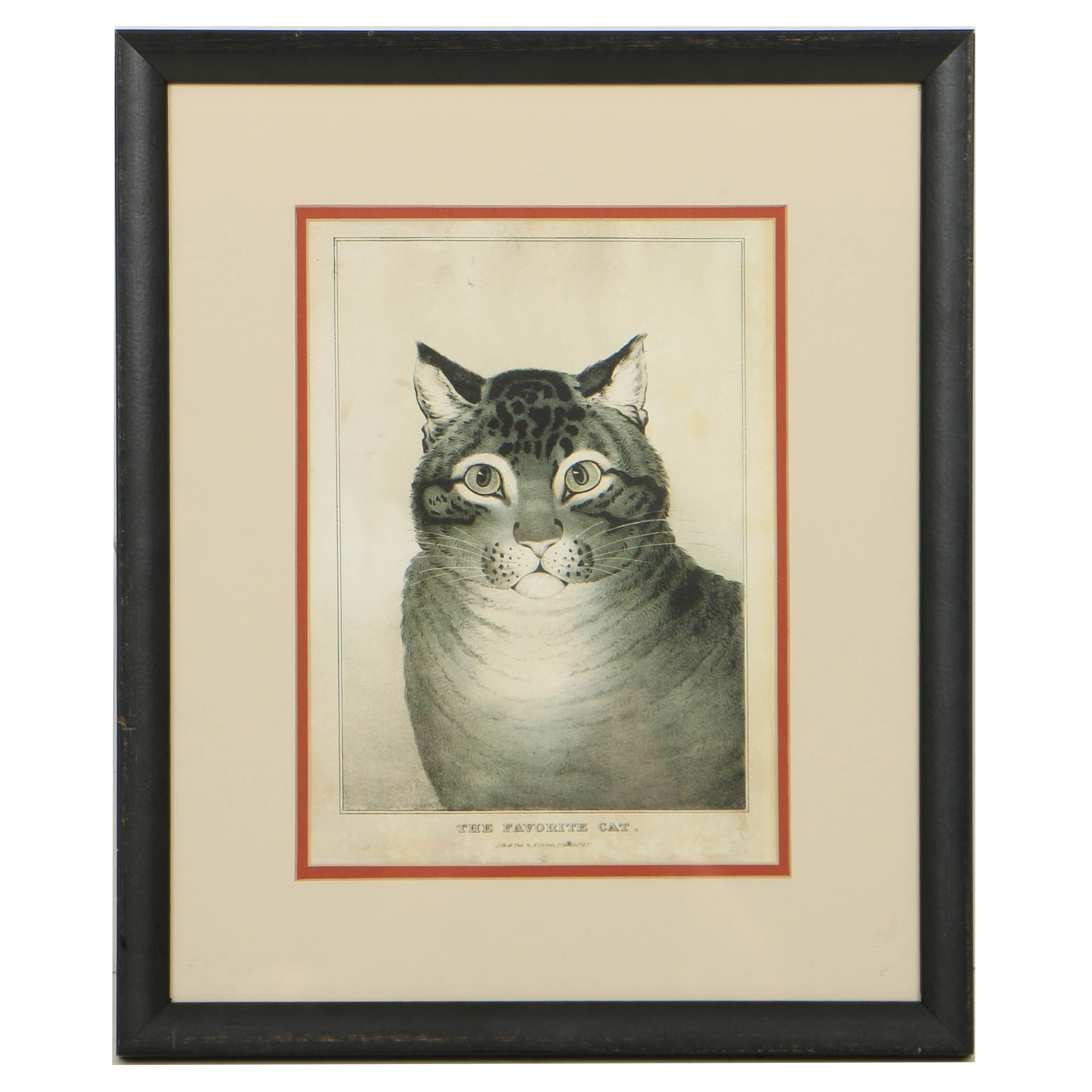 "Offset Lithograph After Nathanial Currier's Lithograph ""The Favorite Cat"""