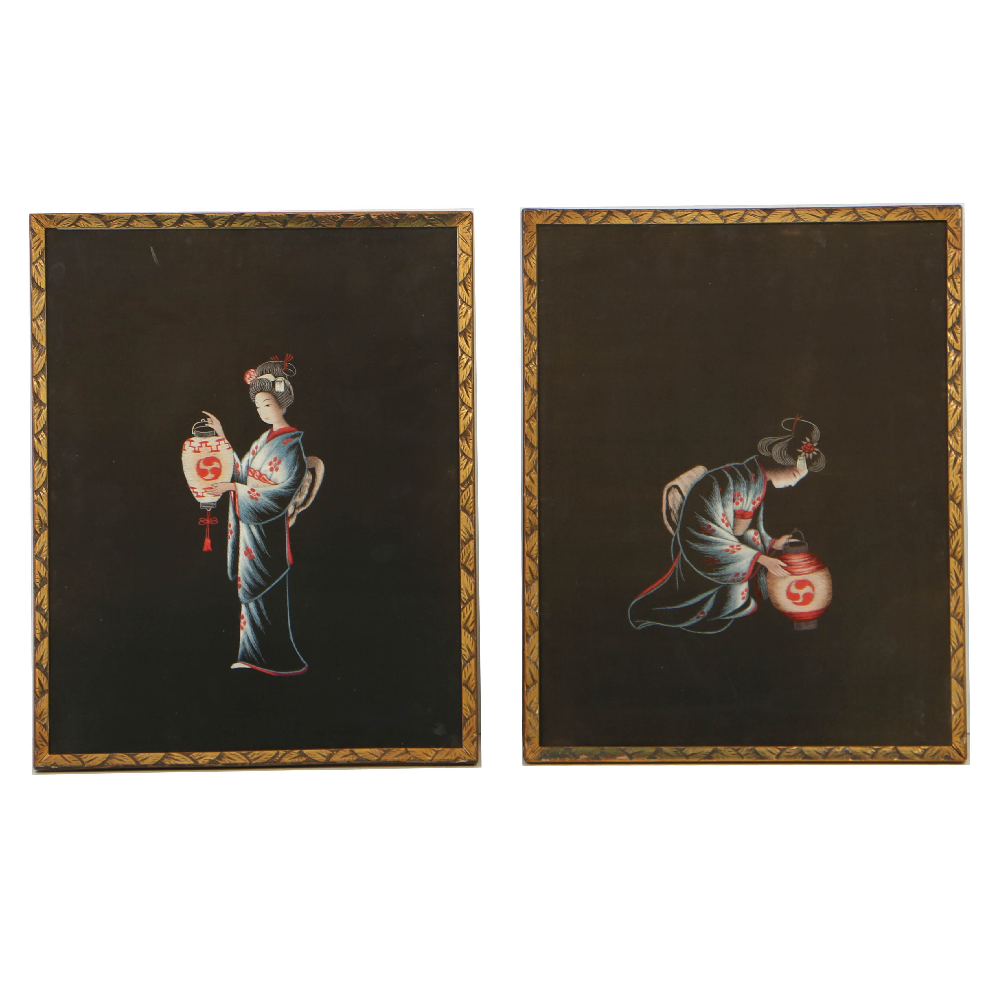 Japanese Silk Embroidery Panels