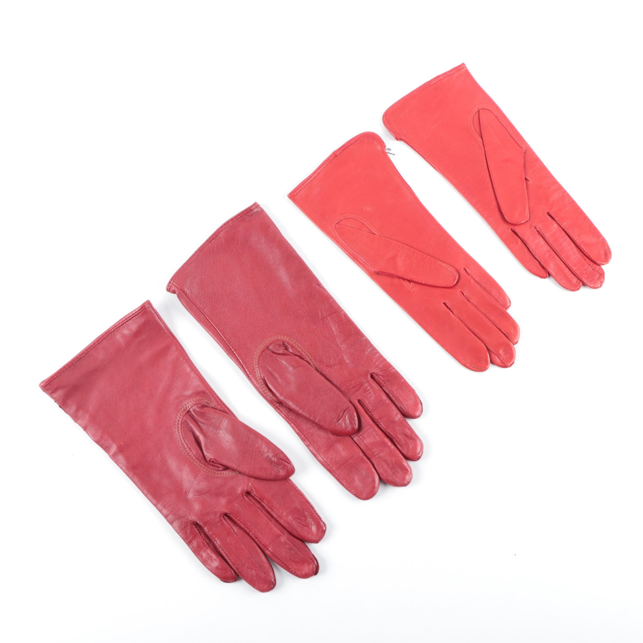 Women's Red Leather Gloves Including Echo