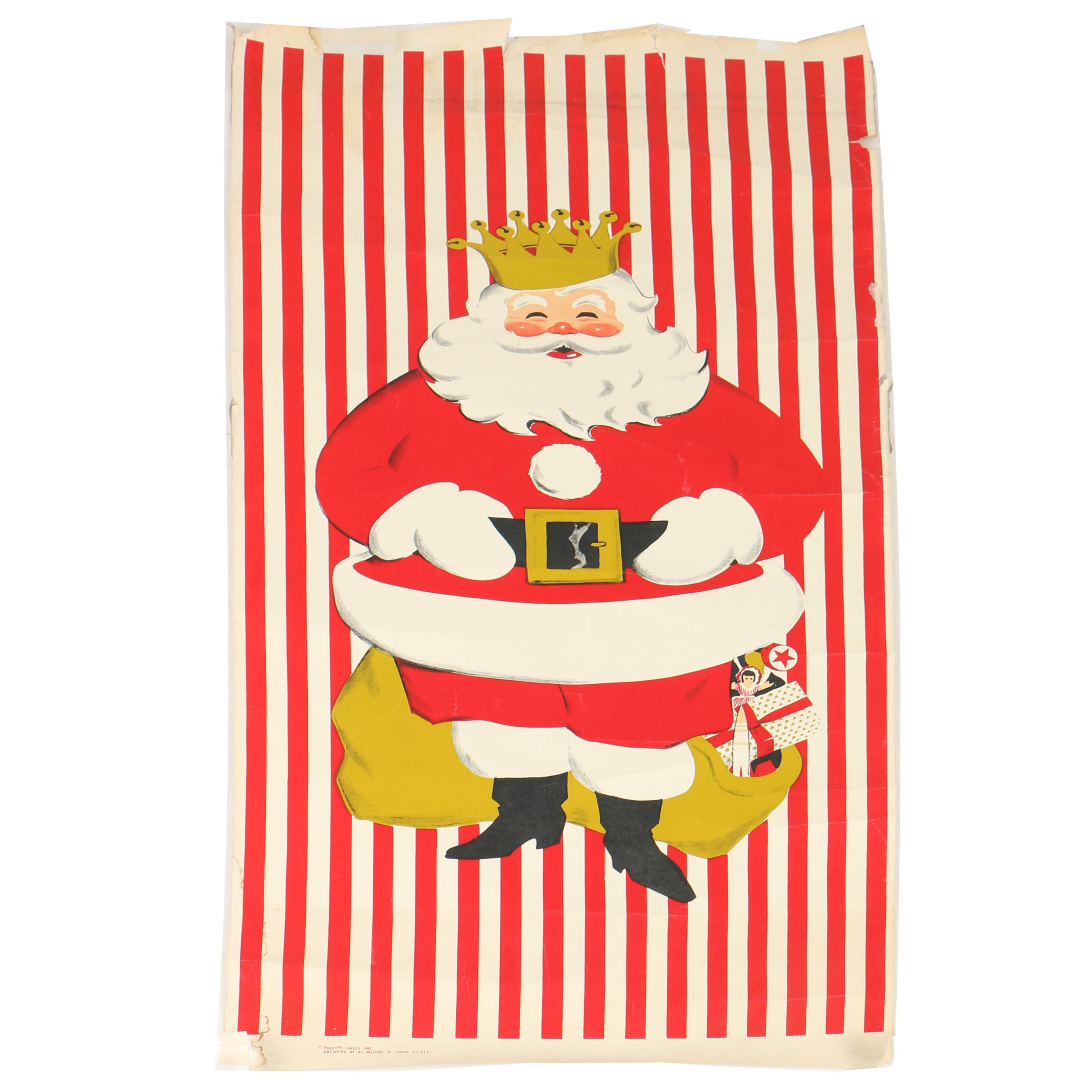 Vintage Serigraph Door Poster of Santa with Crown  sc 1 st  EBTH.com & Vintage Advertising Auctions | Advertising Memorabilia for Sale in ...