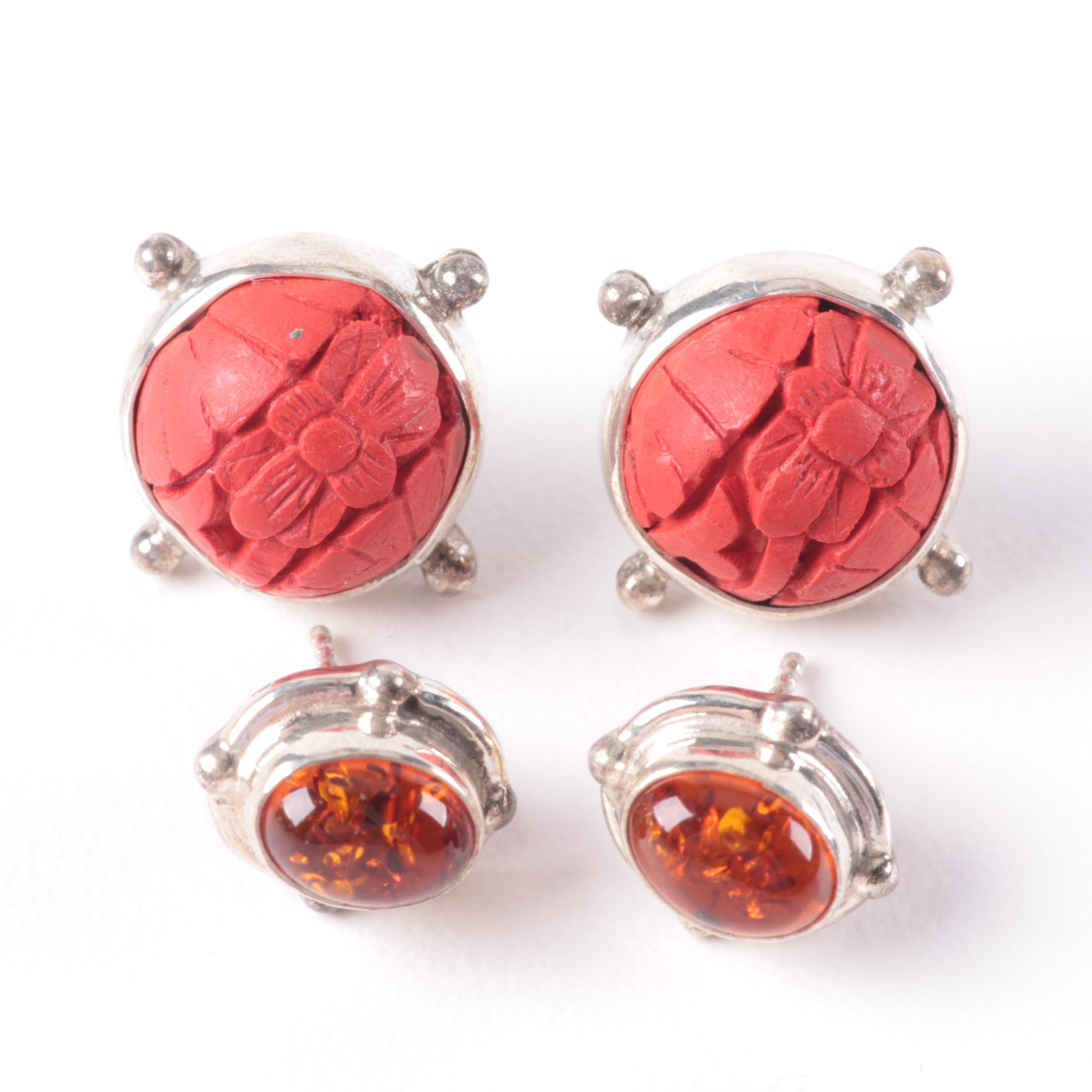 Sterling Silver Amber and Imitation Cinnabar Earring Selection