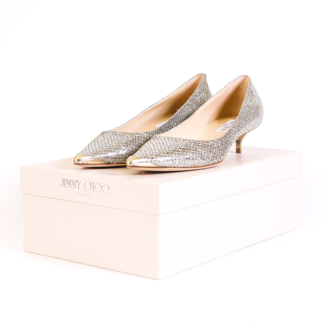Jimmy Choo Metallic Fabric Champagne Pumps