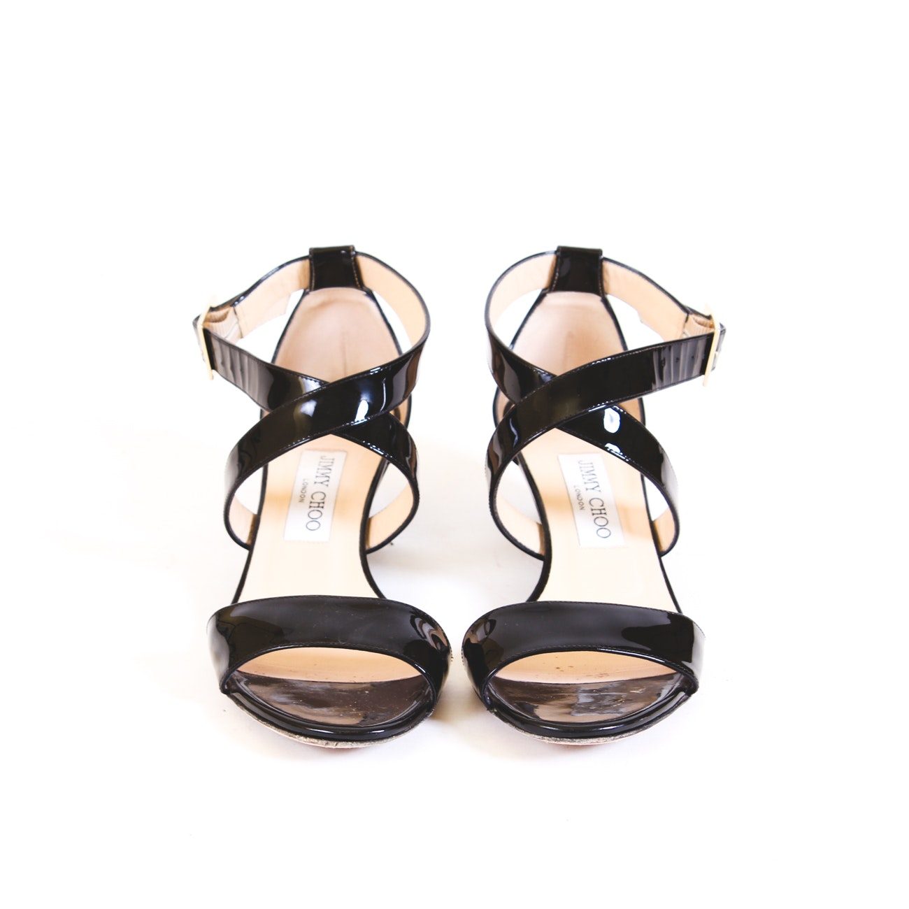 Jimmy Choo Cross Strap Patent Leather Shoes