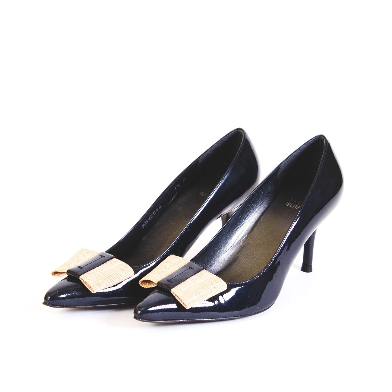 Stuart Weitzman Dark Blue Patent Leather Heels