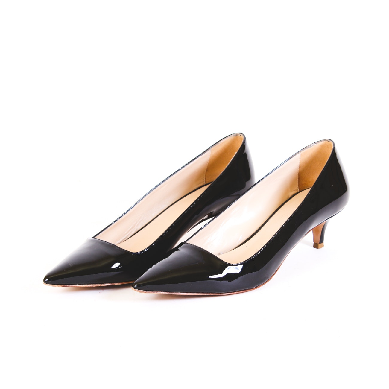 Paolo Bentini Black Patent Leather Kitten Heel Pumps