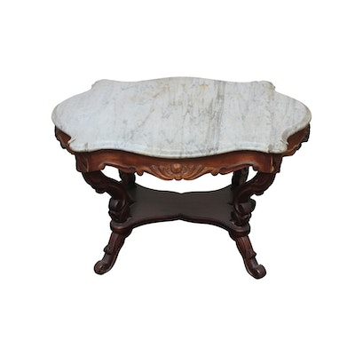 Early Victorian Marble Top Table - Online Furniture Auctions Vintage Furniture Auction Antique