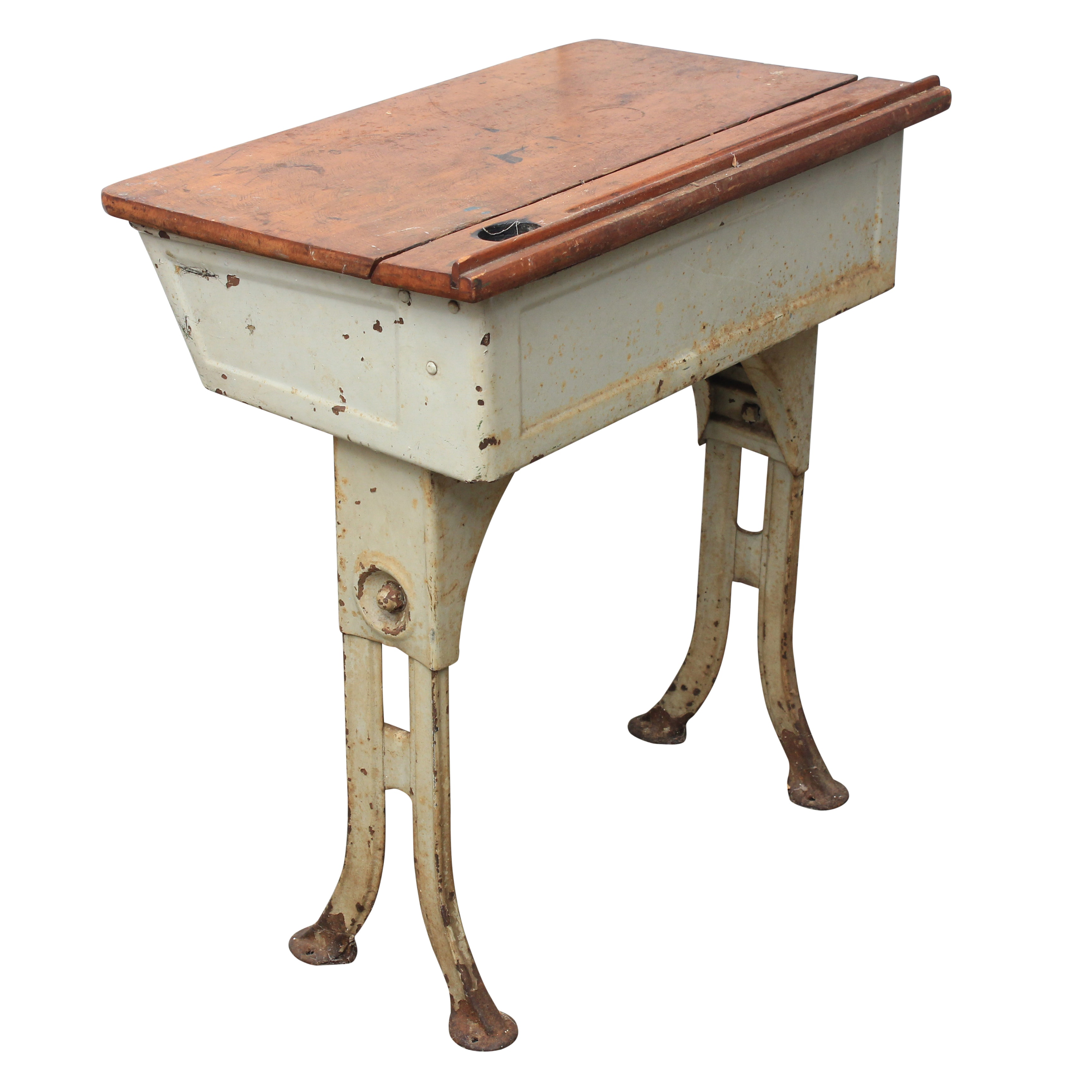 Vintage Painted Metal and Maple School Desk