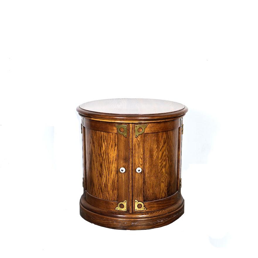 Oak Drum Style Side Table