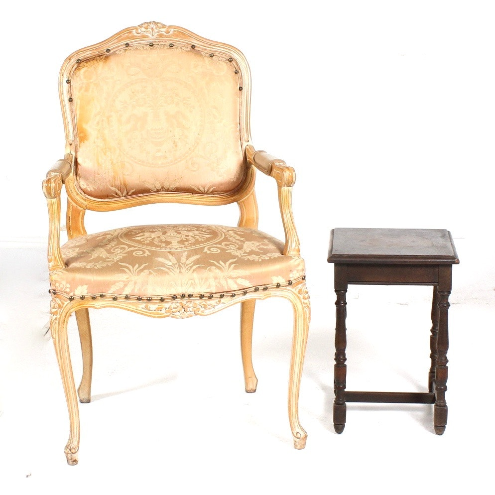Louis XV Style Chair With Antique Side Table ...