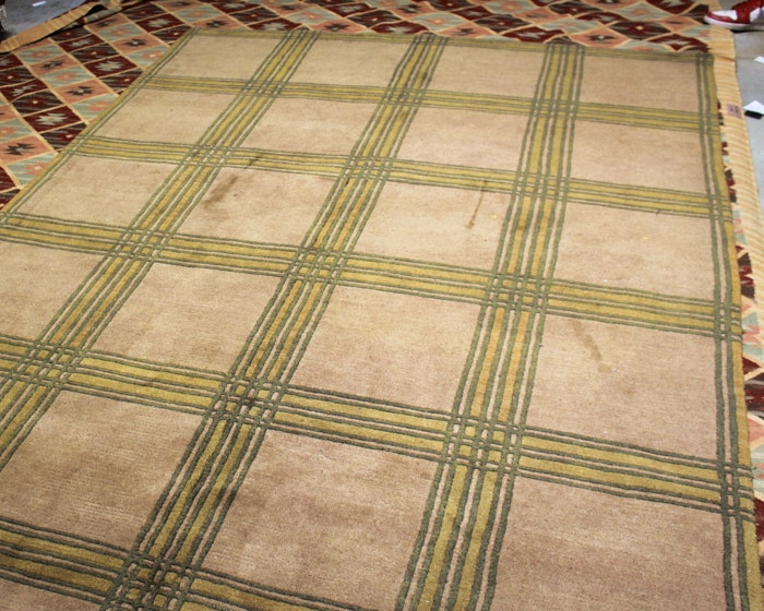 Hand-Knotted Indian Tibetan Contemporary Style Wool Area Rug