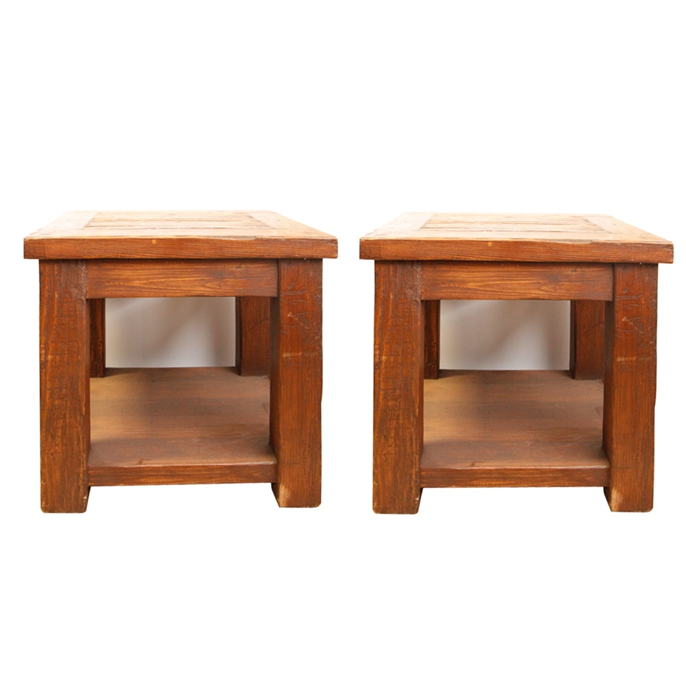 Two Rustic Style Pine Side Tables