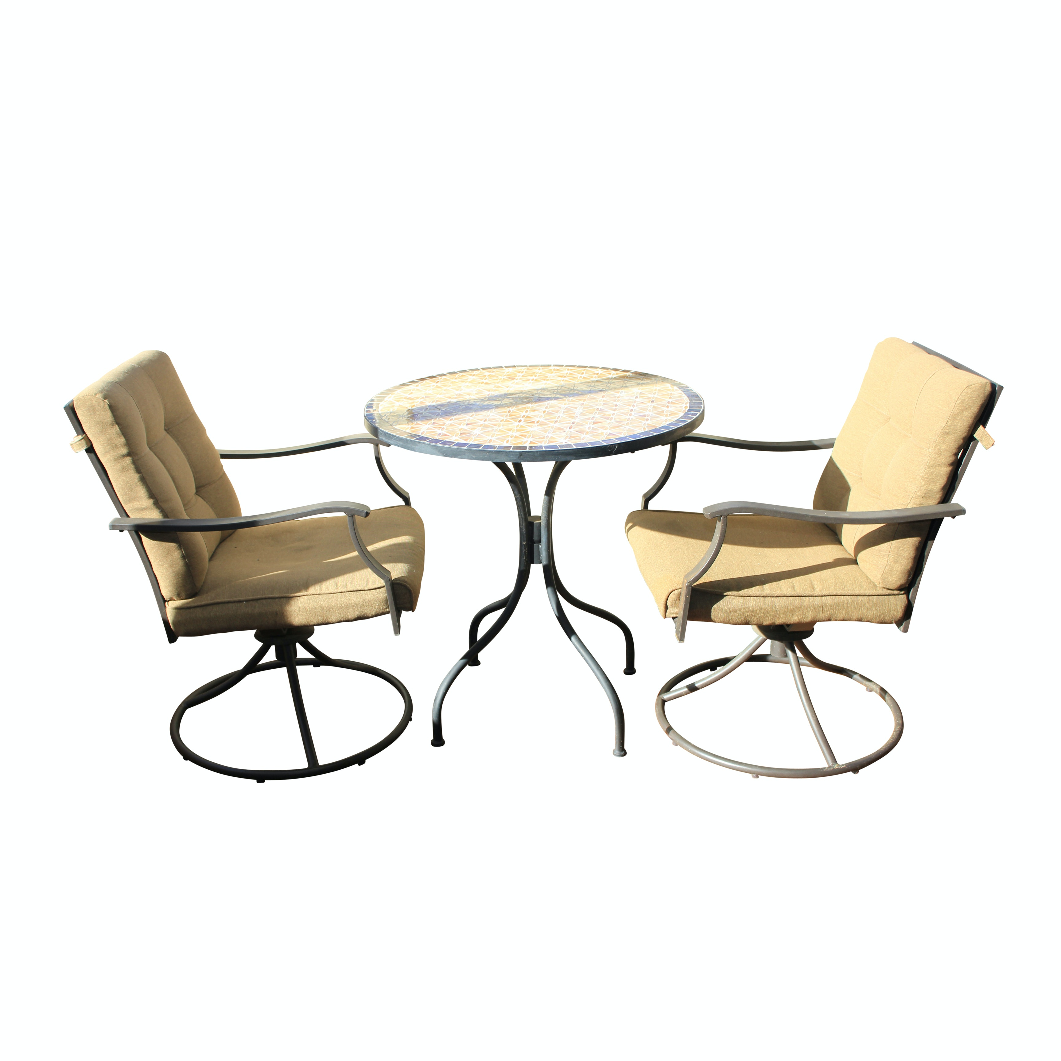 Set of Swivel Patio Armchairs and Mosaic Table