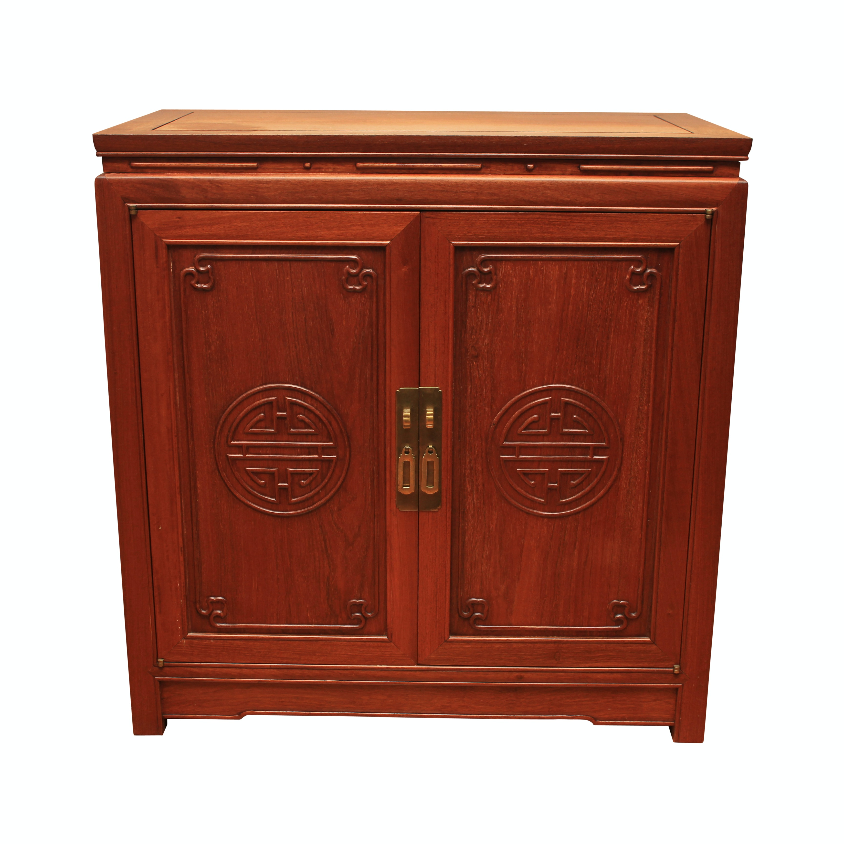 Vintage Chinese Carved Padauk Flatware Cabinet