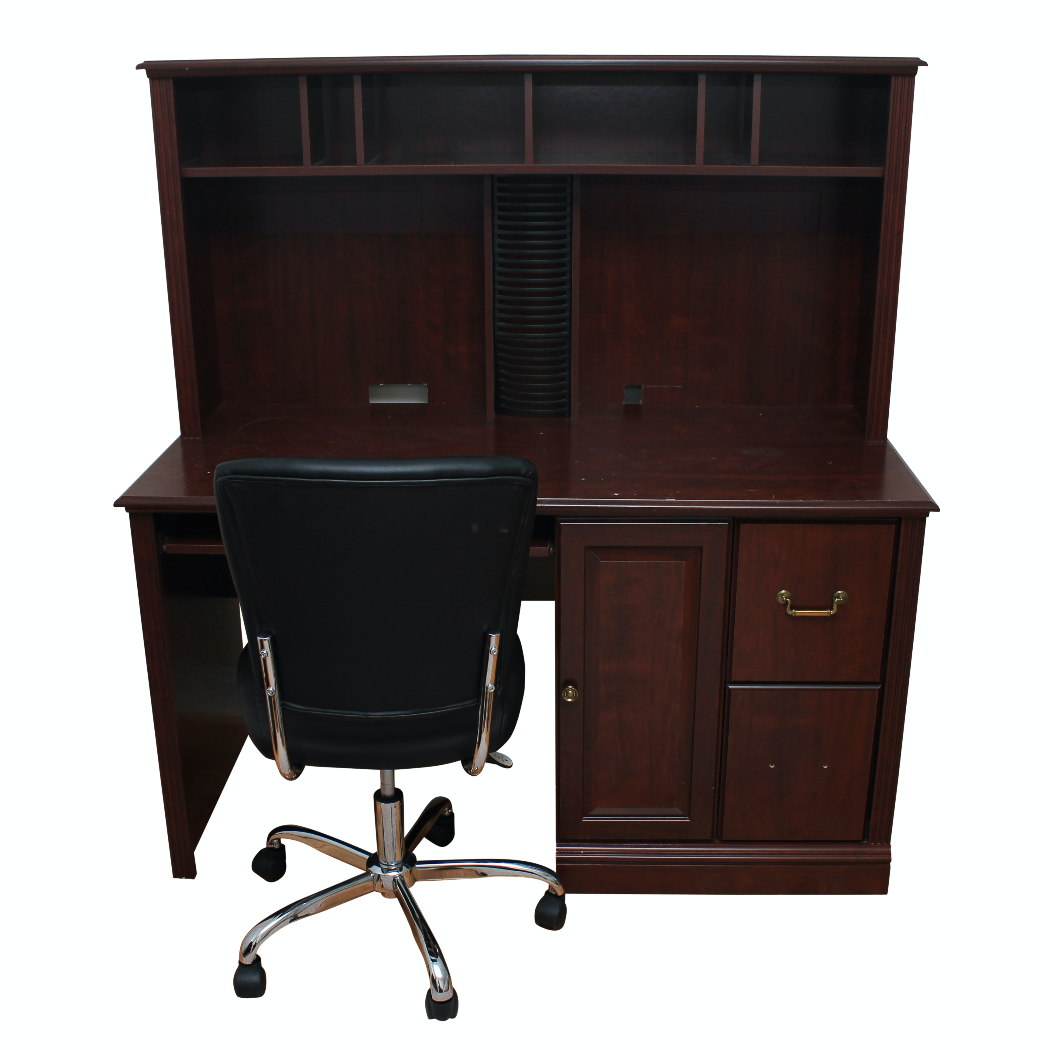 Mahogany Finished Computer Desk and Office Chair
