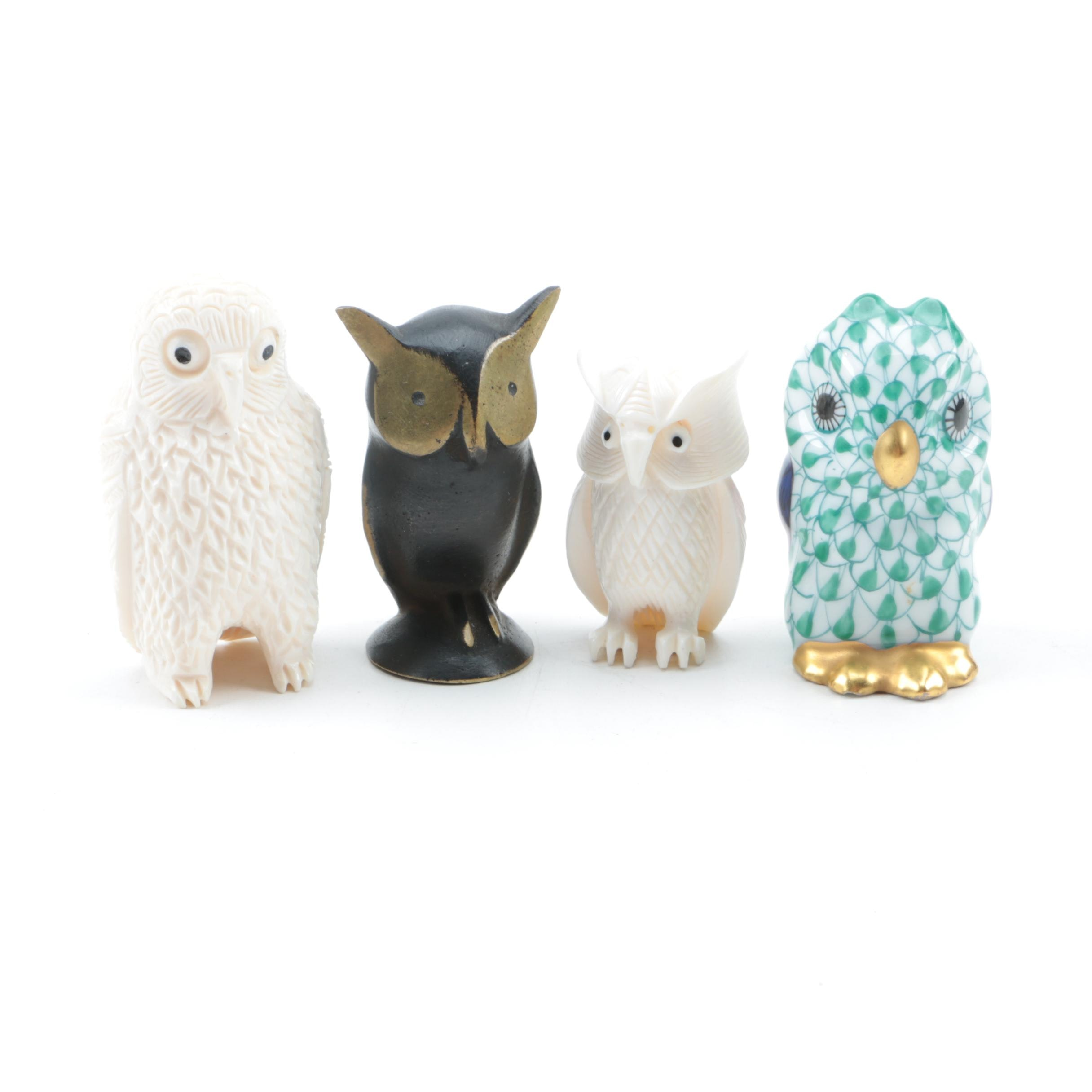 PRIORITY-Owl Figurines featuring Herend Hungary Porcelain