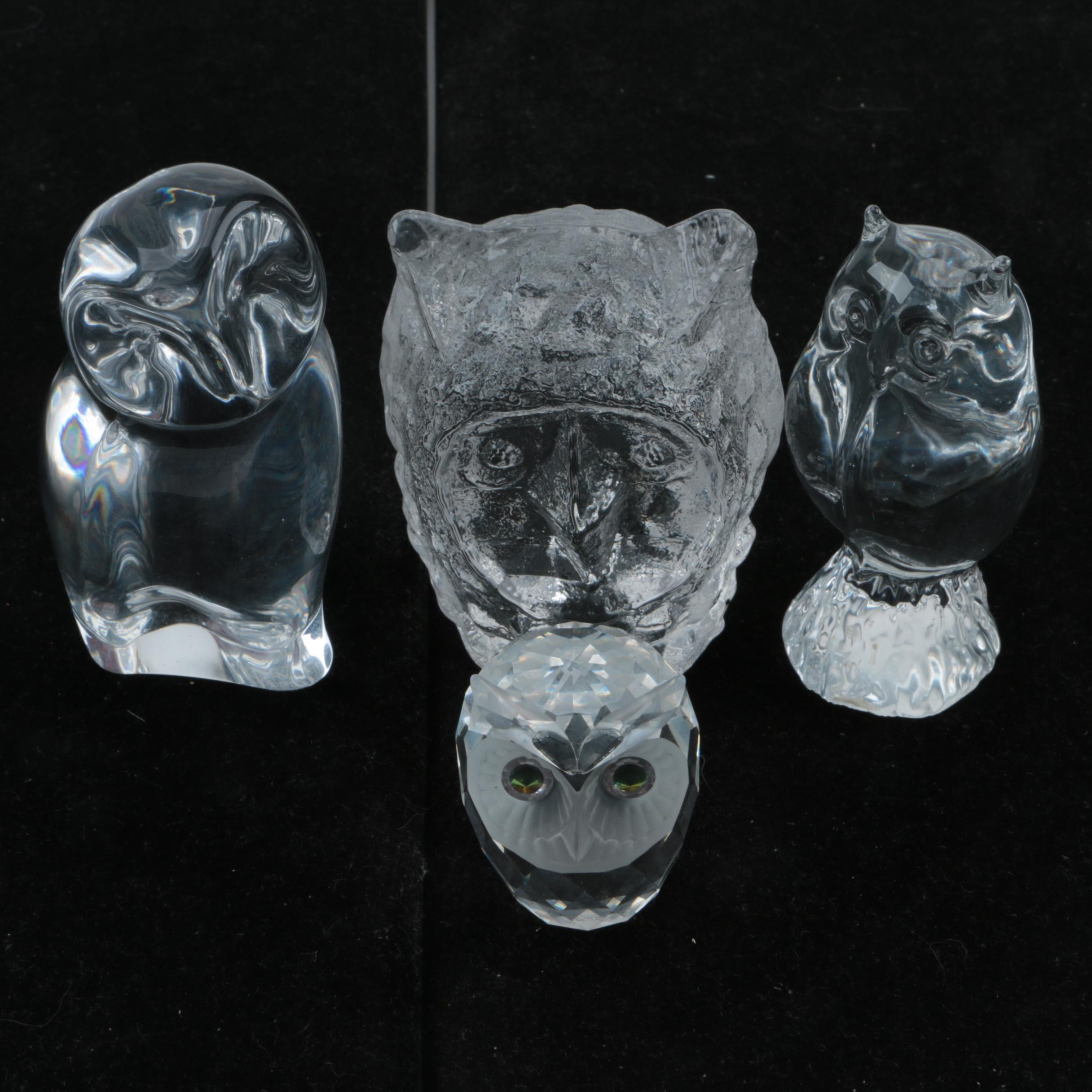 Crystal and Glass Owl Figurines including Swarovski, Pukeberg, and Baccarat