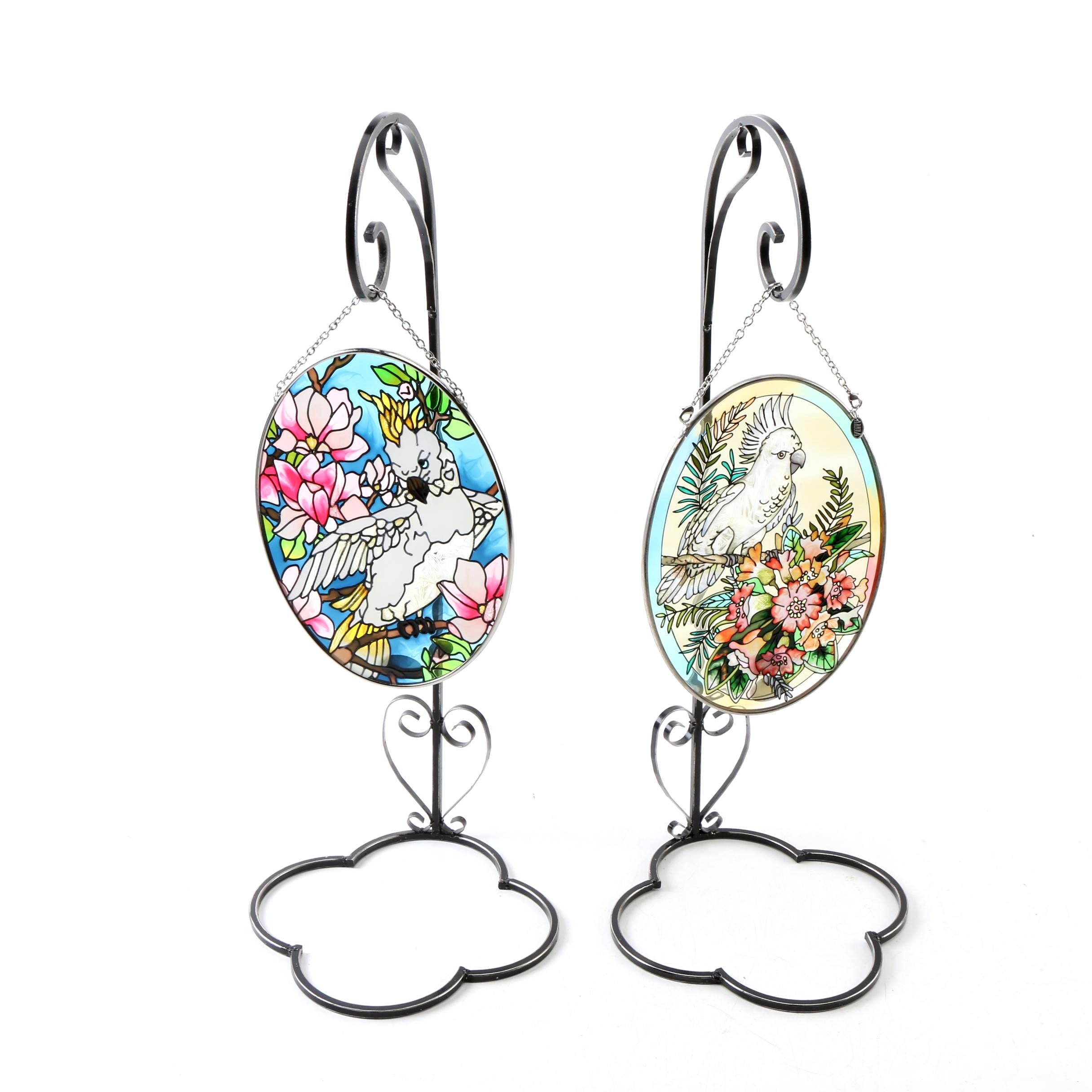 Pair of Stained Glass Style Suncatchers with Display Stands