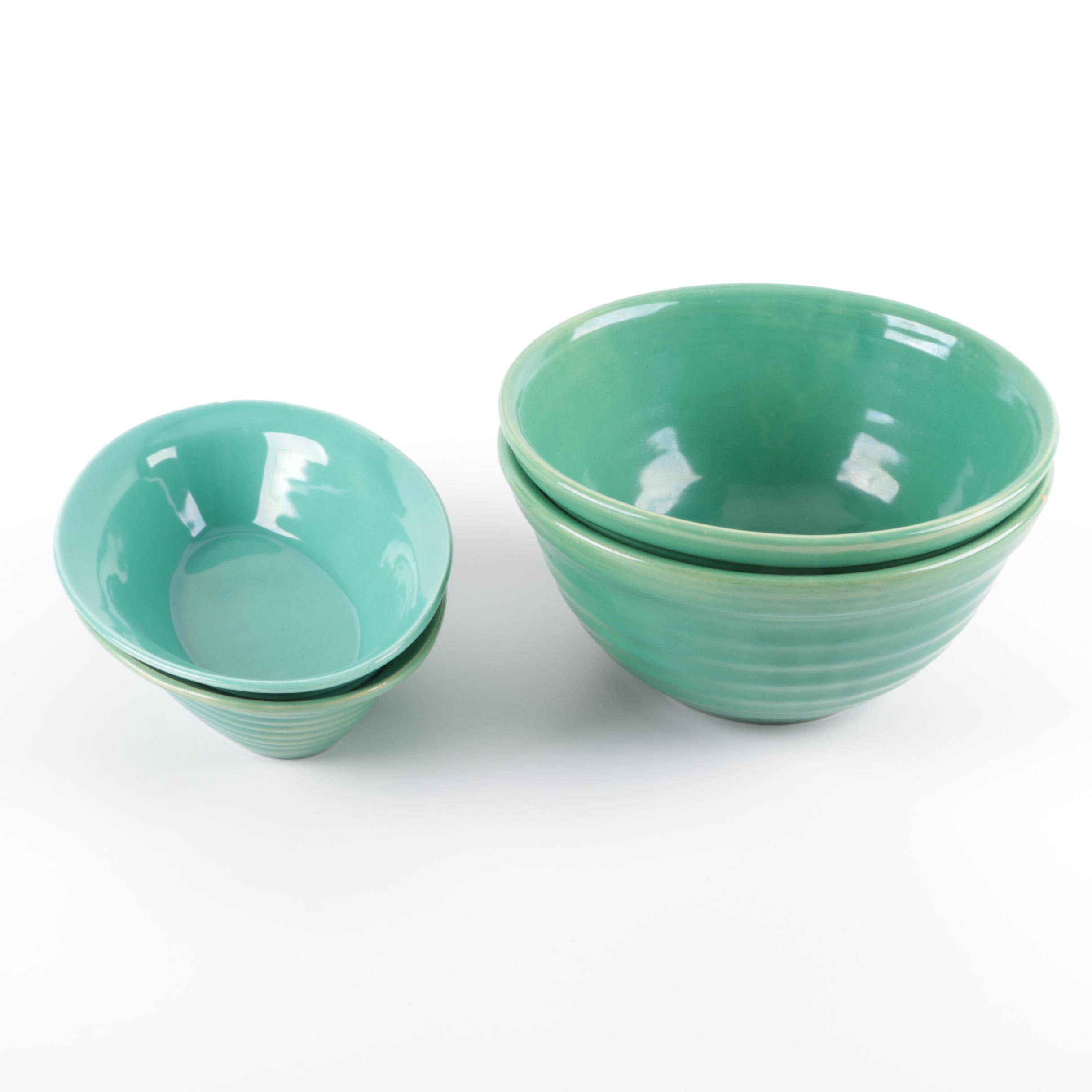 Vintage Bauer Pottery Turquoise Serving Dishes and Mixing Bowls