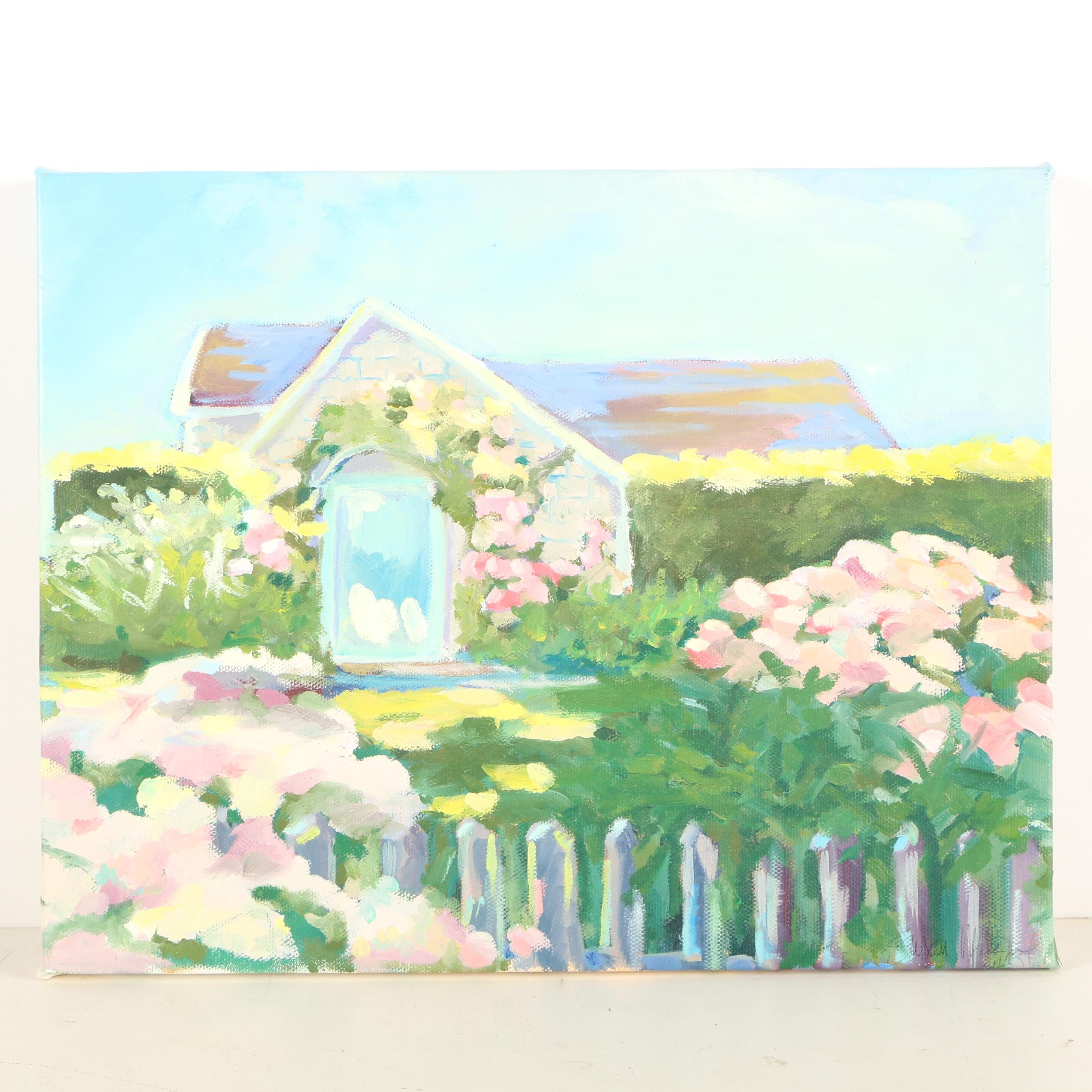 Oil Painting of a Spring Garden