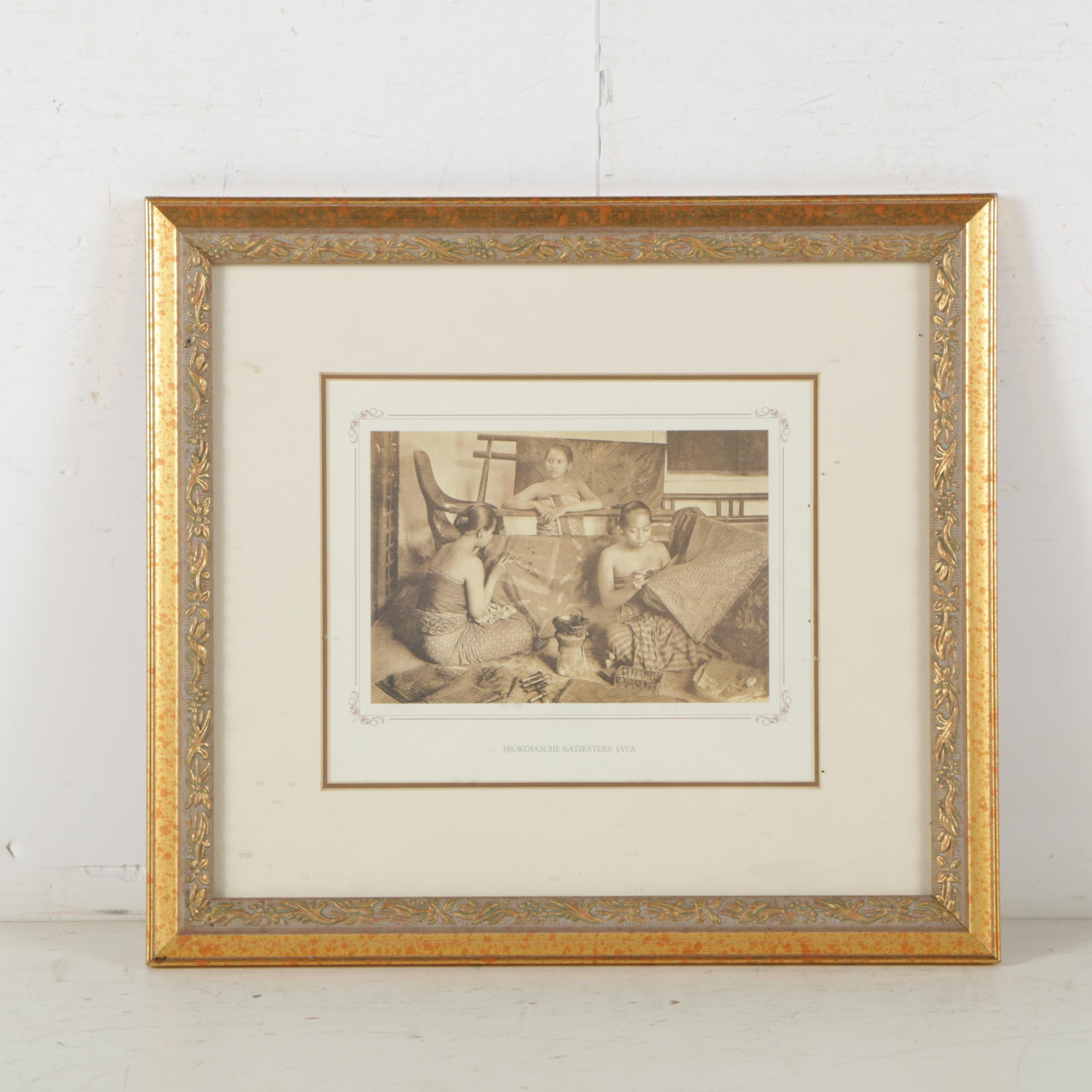 "Offset Lithograph Reproduction of Photograph ""Djokdjasche Batiksters. Java"""
