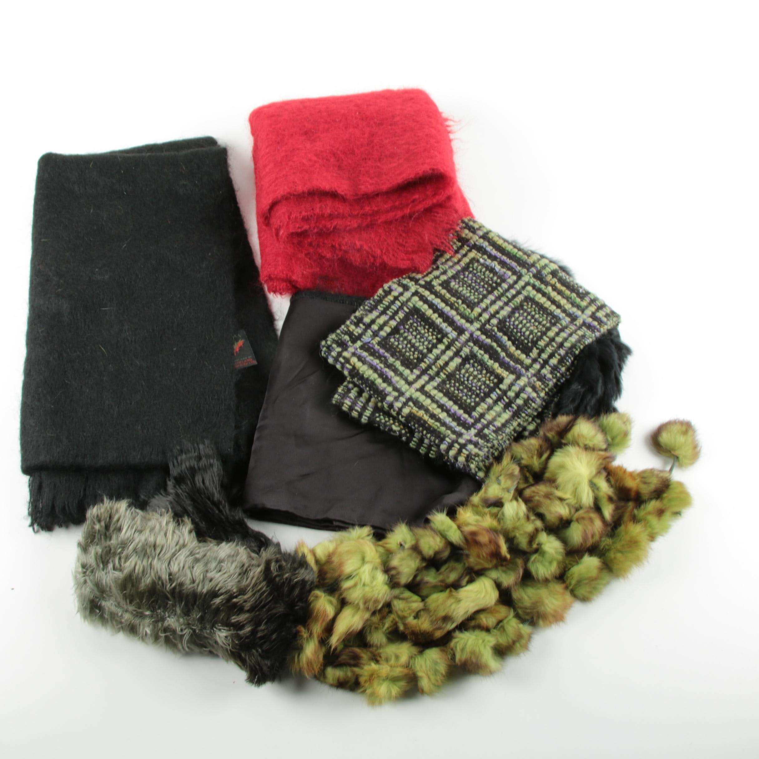 Wool and Rabbit Fur Winter Scarves Including Lawrence Steele