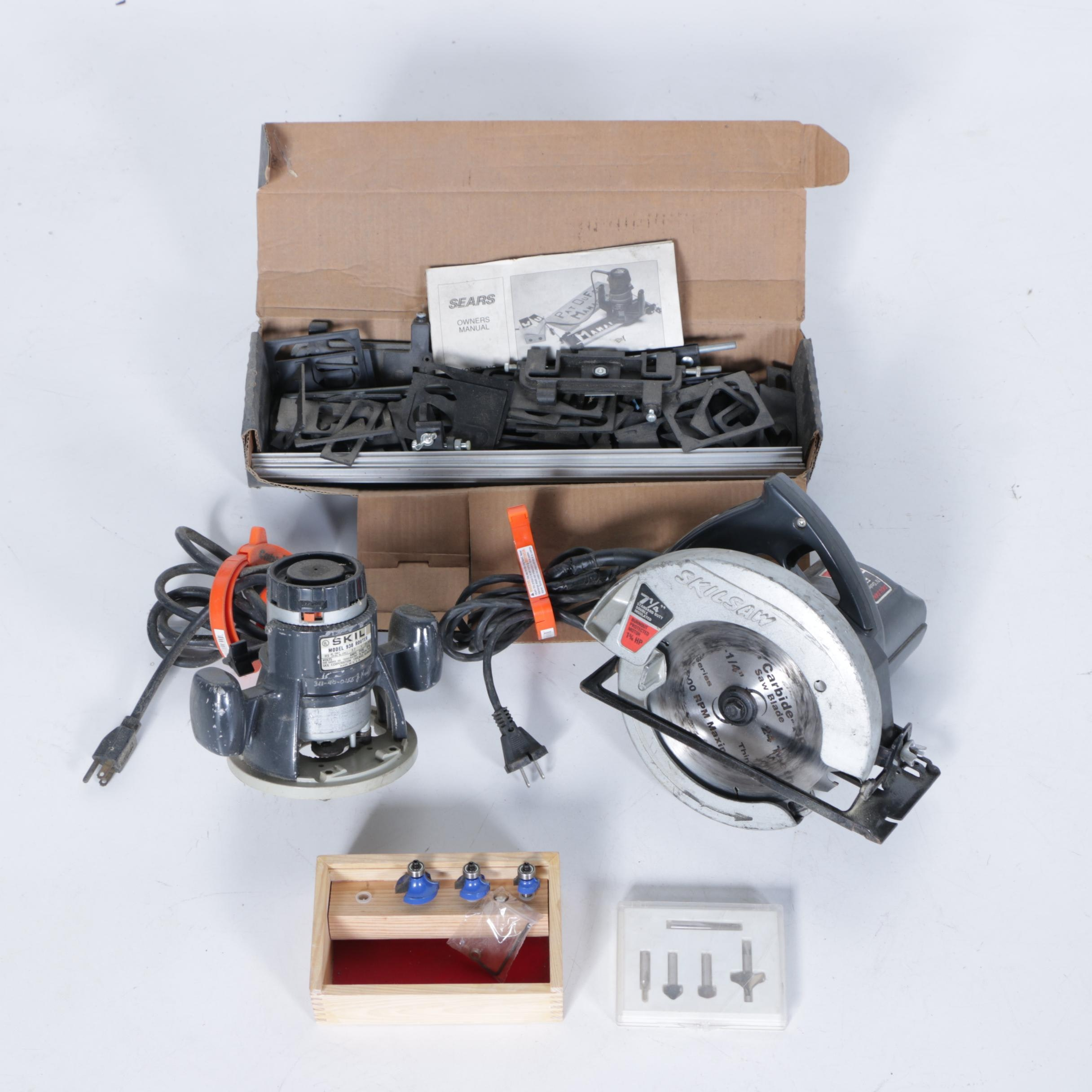 Skilsaw Model 5Z4 Circular Saw, Model 938 Router and Accessories