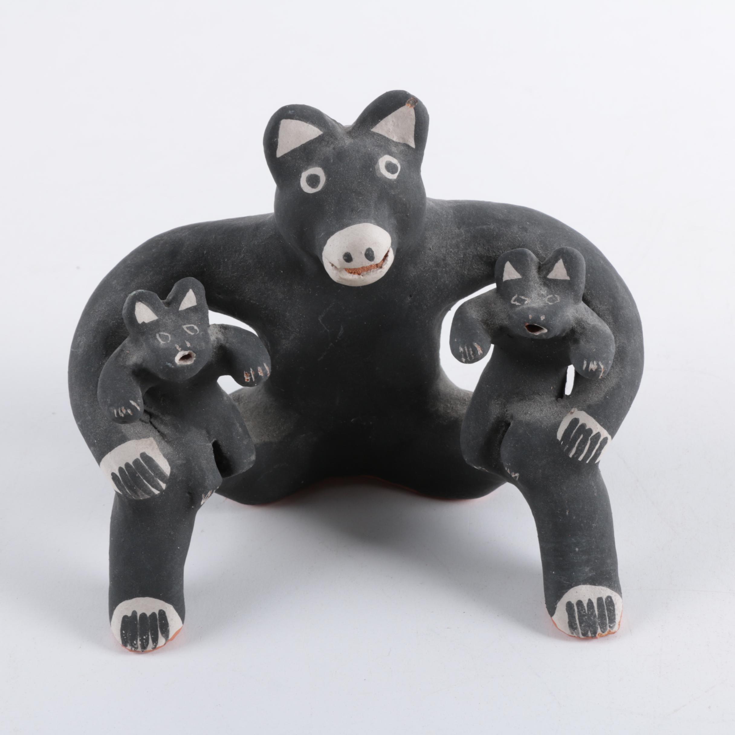 "Martha Arquero Cochiti Signed ""Bear Storyteller"" Terracotta Figurine"