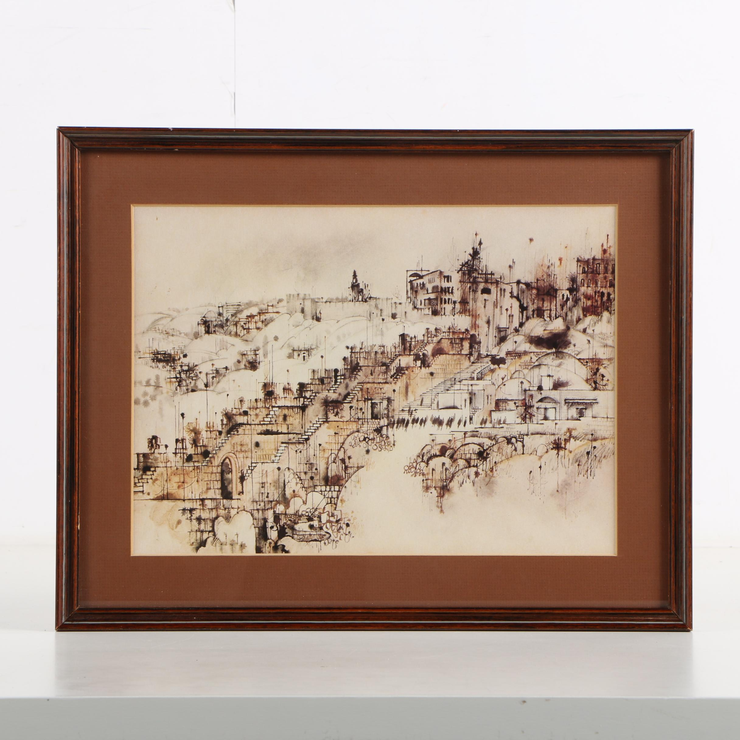Offset Lithograph After Ink Drawing of Cityscape