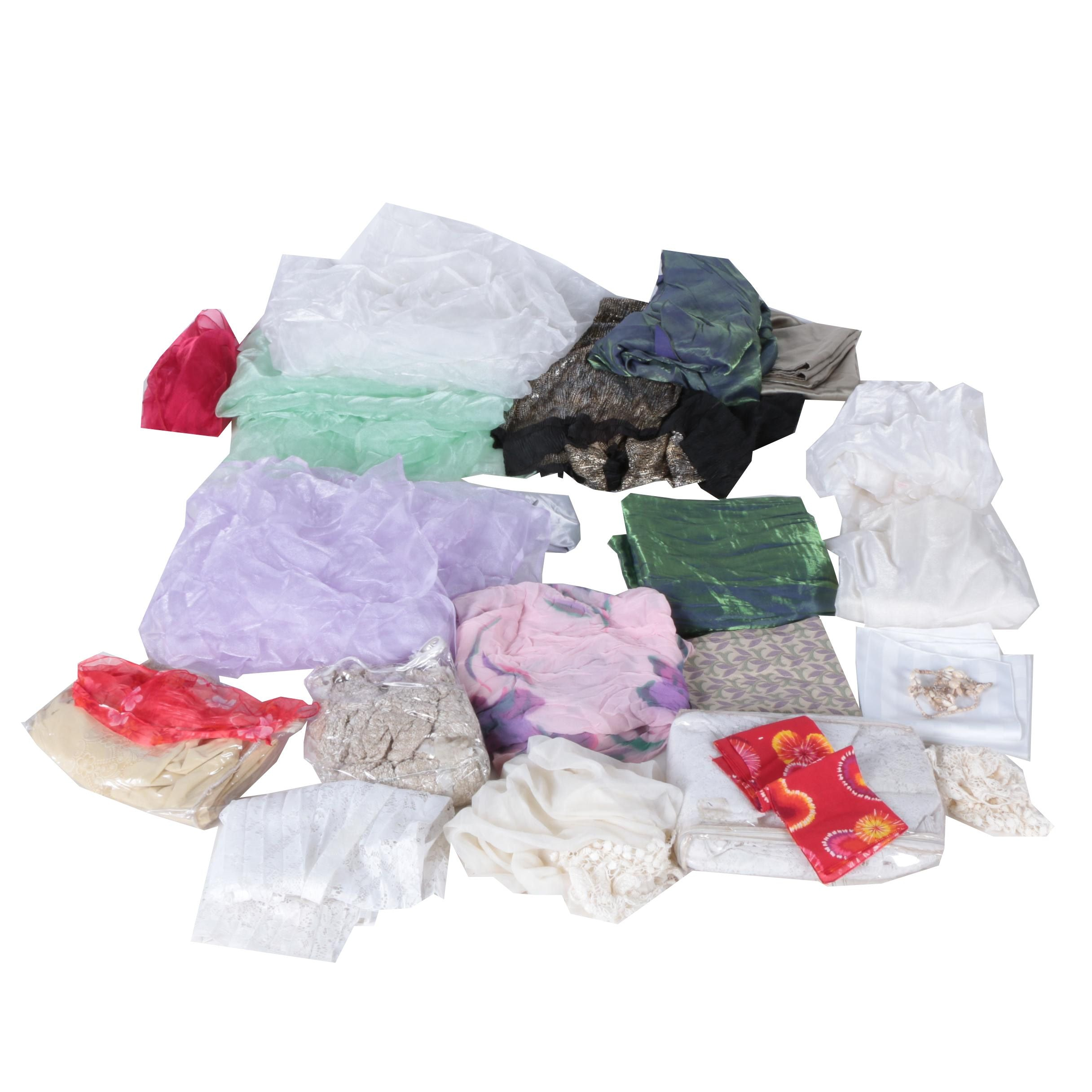 Assorted Colorful Silk, Cotton and Blended Fabric Linens