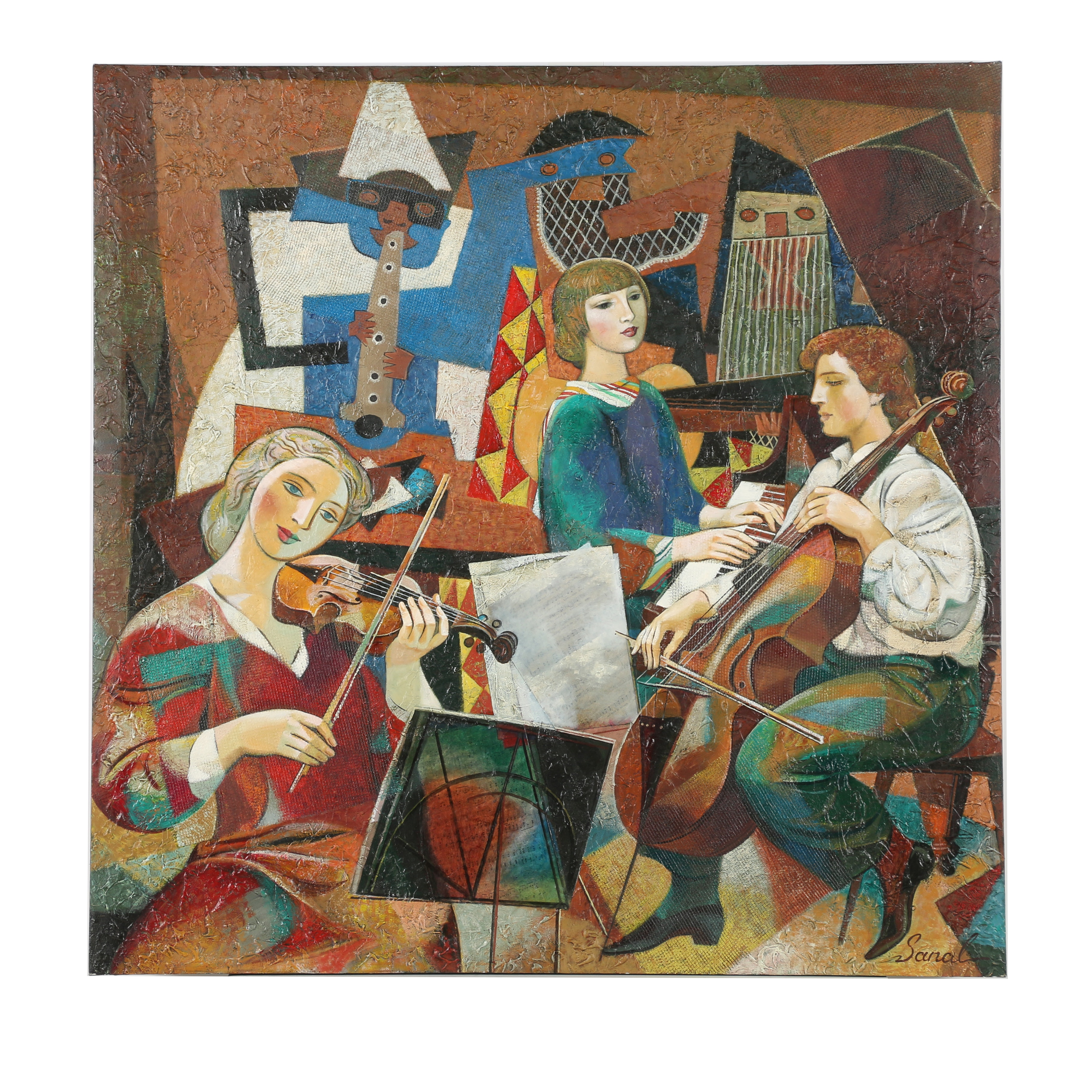 "Alexander Sanal Mixed Media Painting ""Three Musicians and Picasso"""