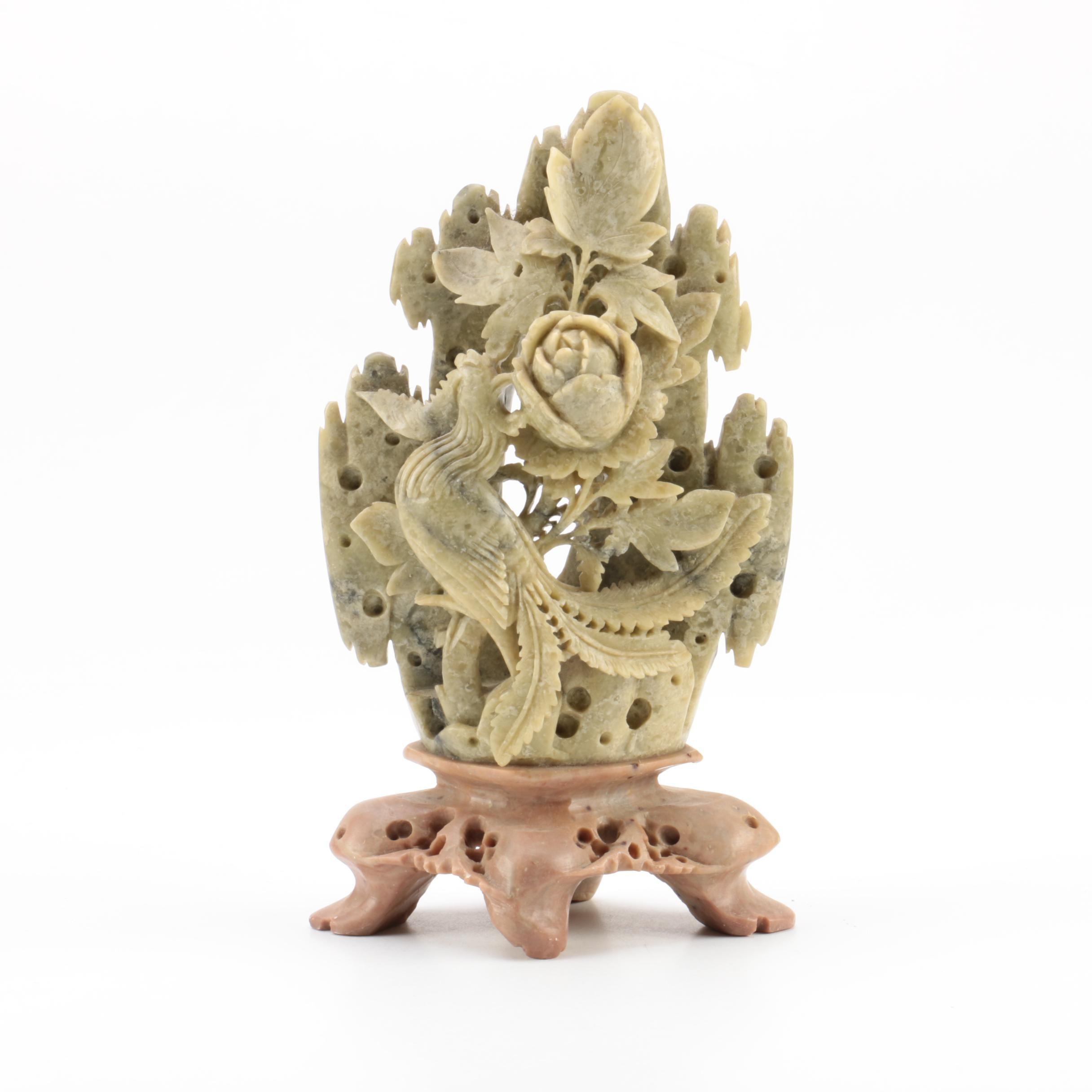 Carved Soapstone Floral Motif Figurine