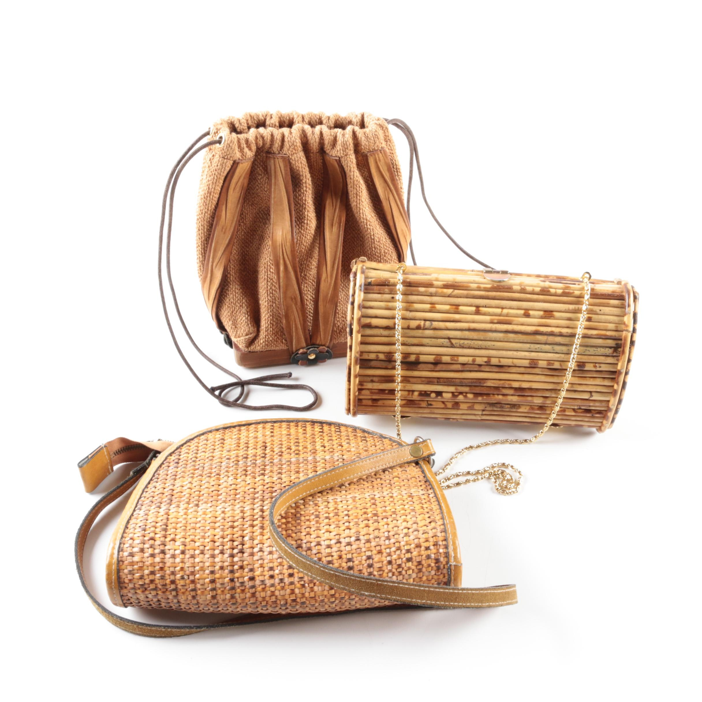 Collection of Wood, Bamboo and Woven Handbags