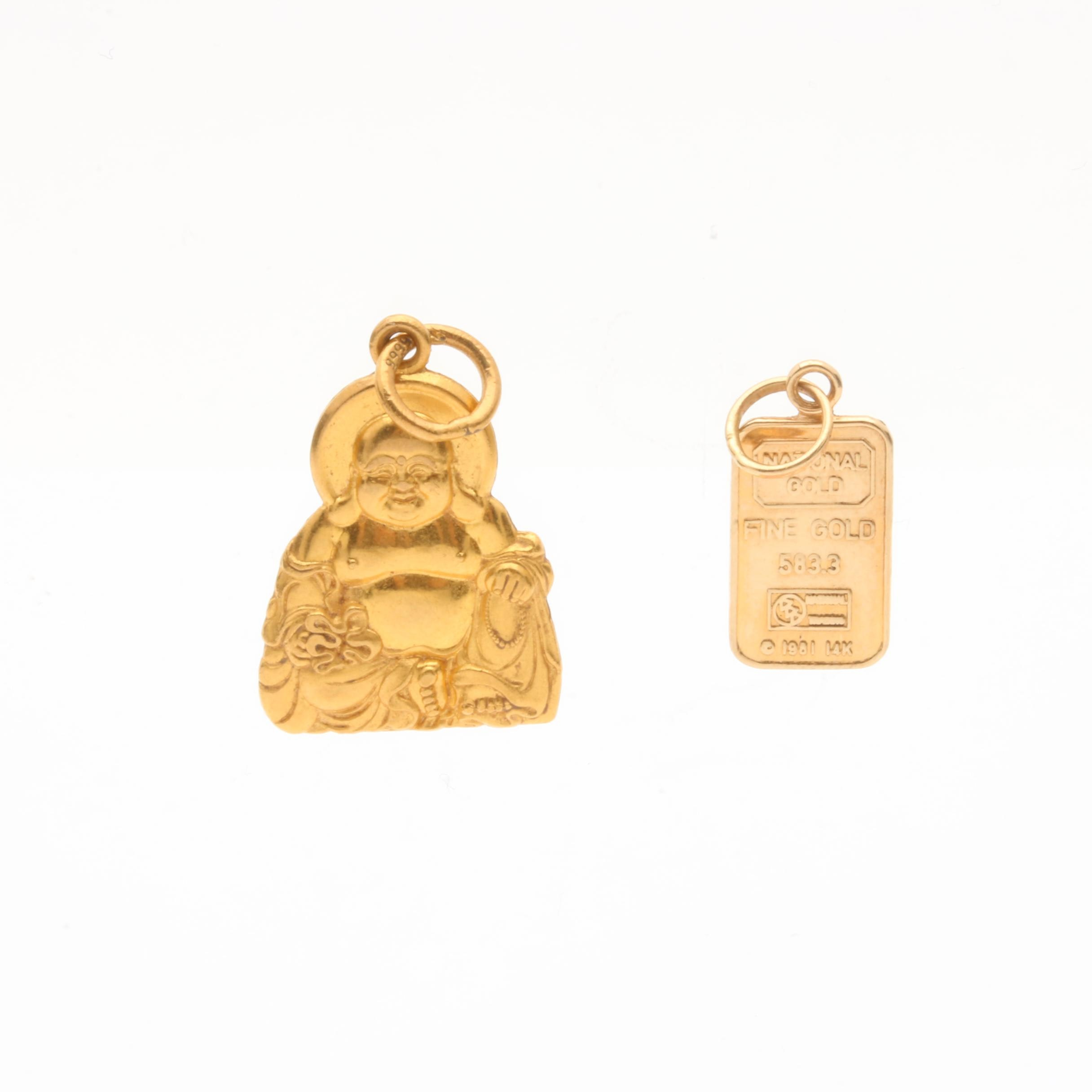 14K and 24K Yellow Gold Buddha and National Gold Charms